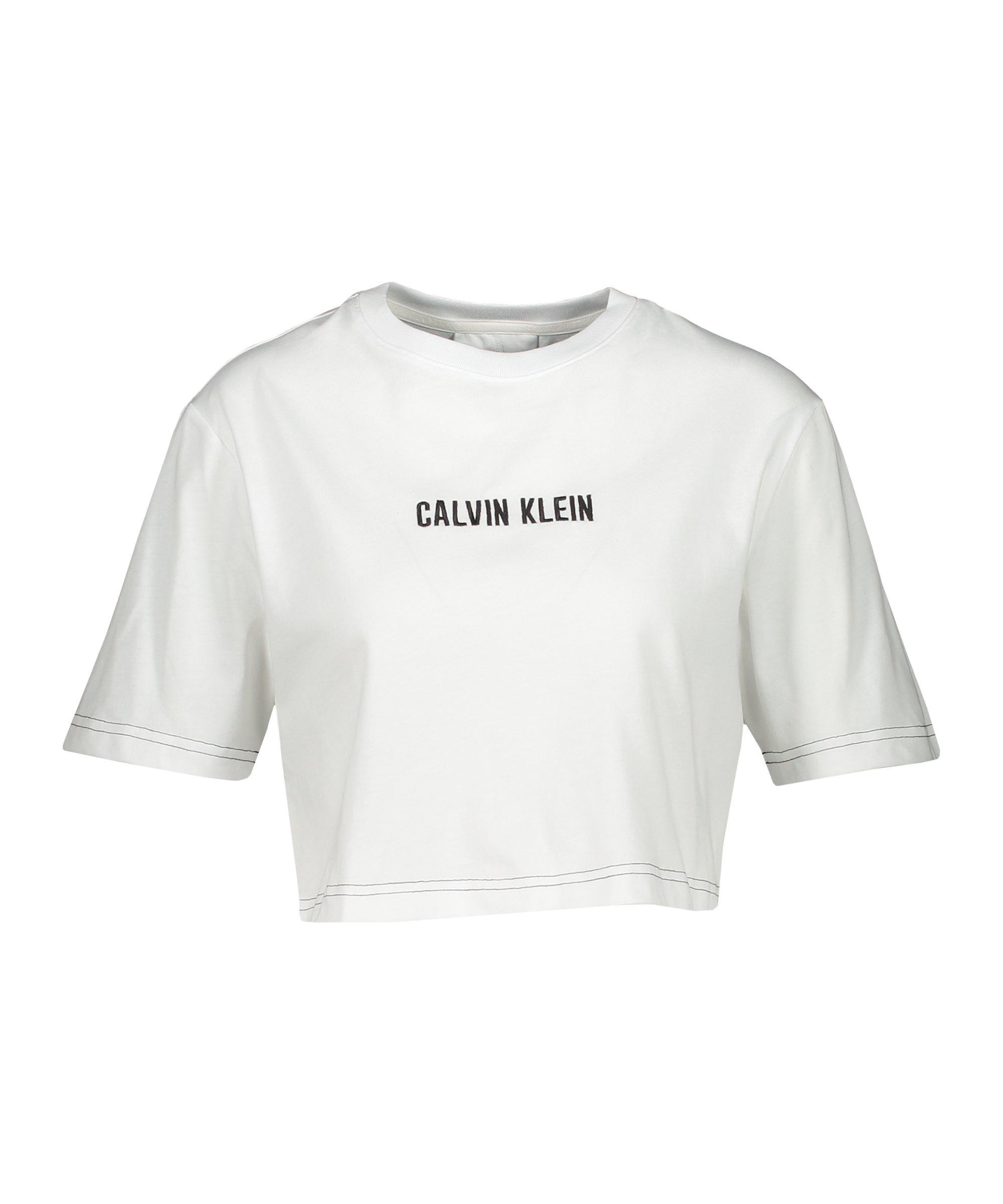 Calvin Klein Open Back Cropped T-Shirt Damen F100 - weiss