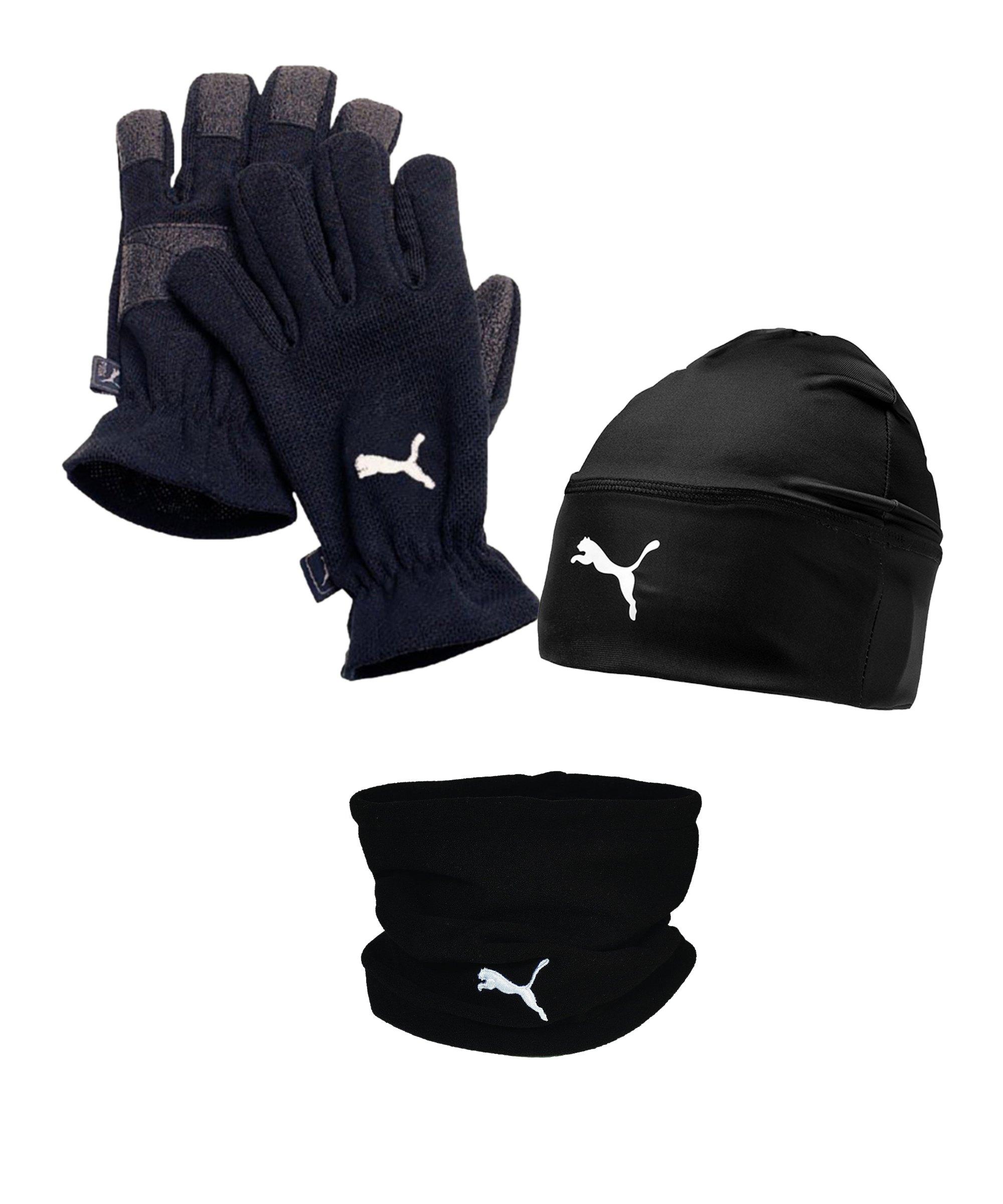 PUMA 3er Winter Set Handschuh + Beanie + Neckwarmer Schwarz - schwarz
