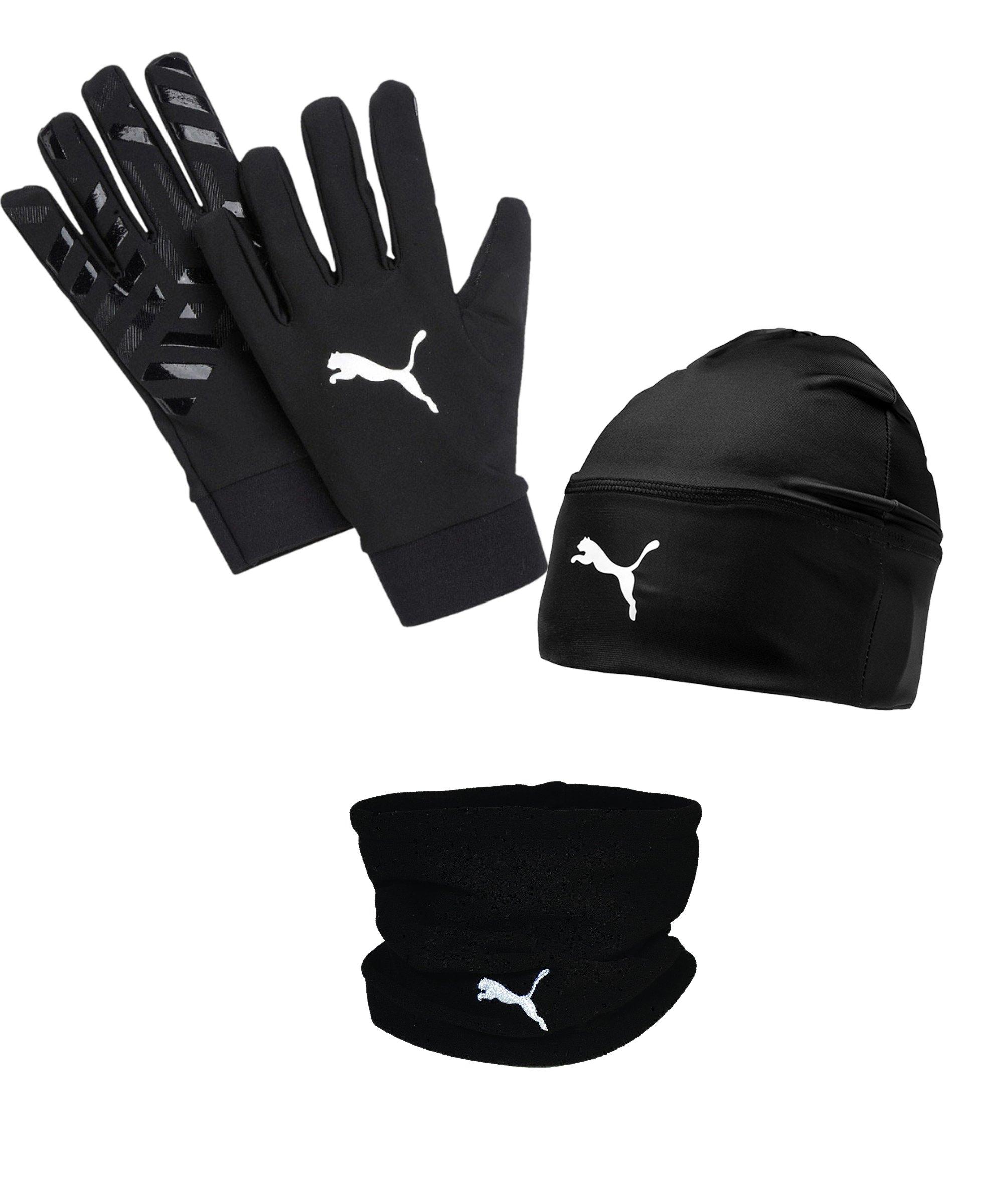 PUMA 3er Winter Set Handschuh + Beanie + Neckwarmer Schwarz Grau - schwarz