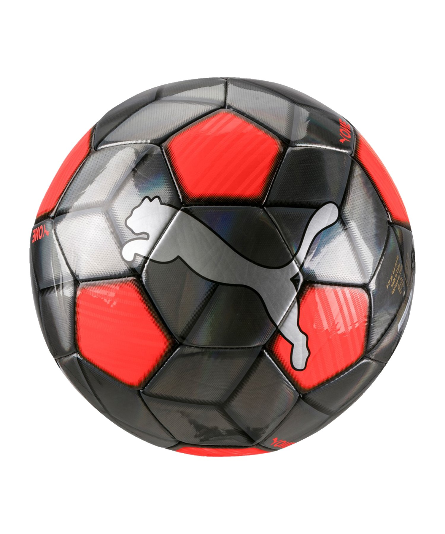 PUMA ONE Strap Trainingsball Silber Rot F01 - Silber