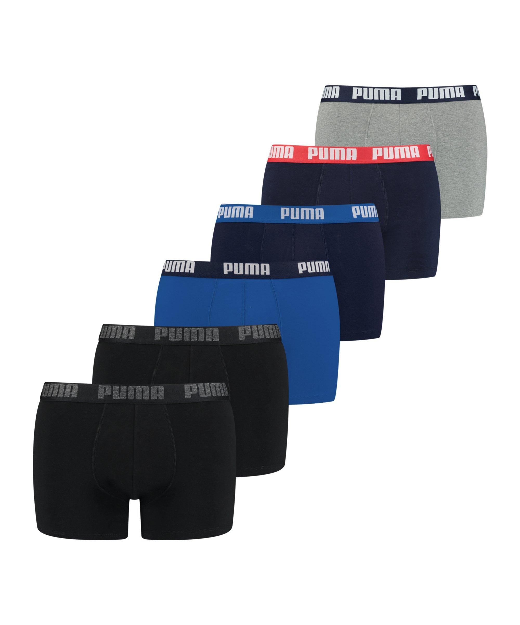 PUMA Basic Boxer 6er Pack Blau Schwarz F002 - blau