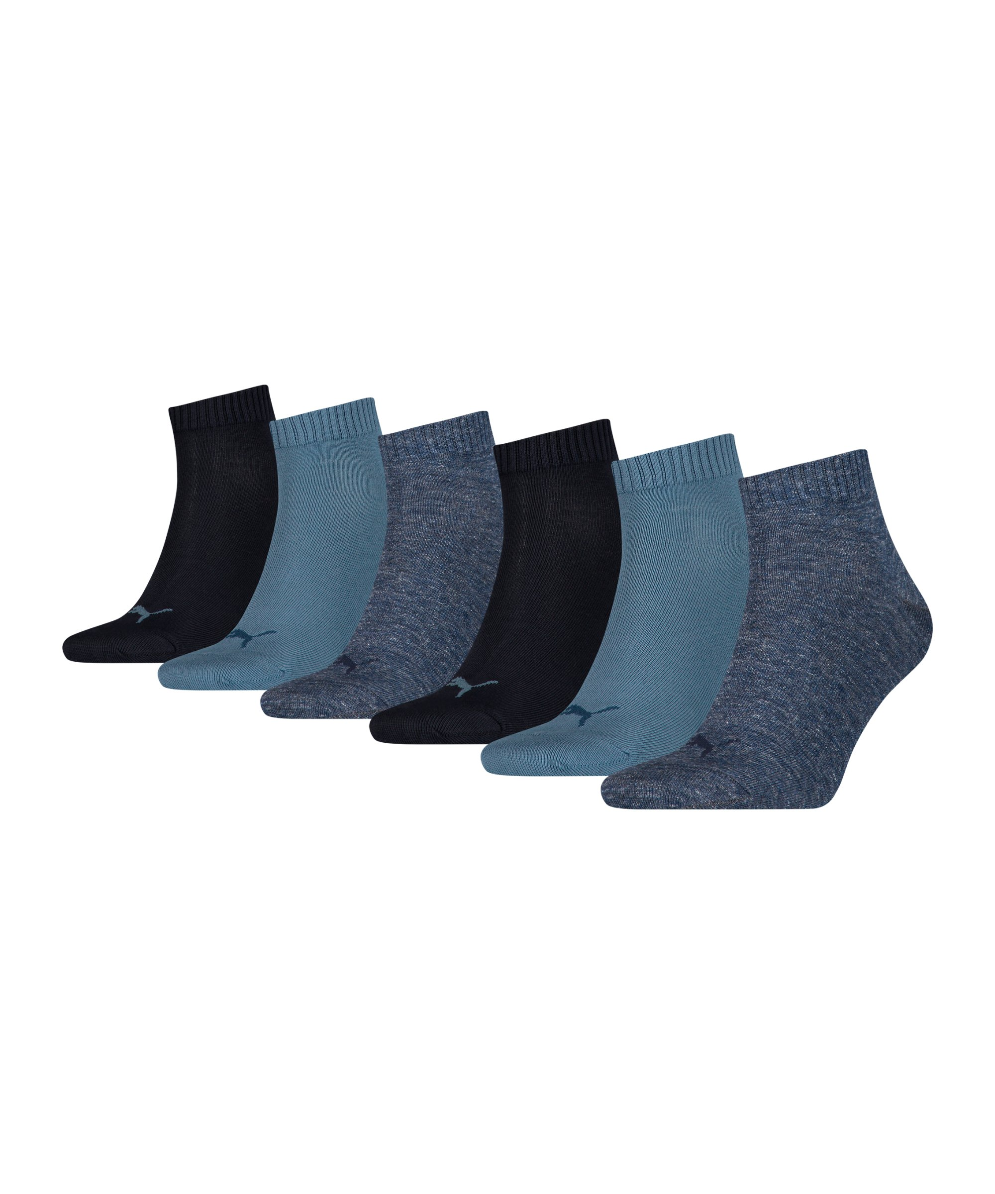 PUMA Unisex Quarter Plain 6er Pack Socken F004 - blau