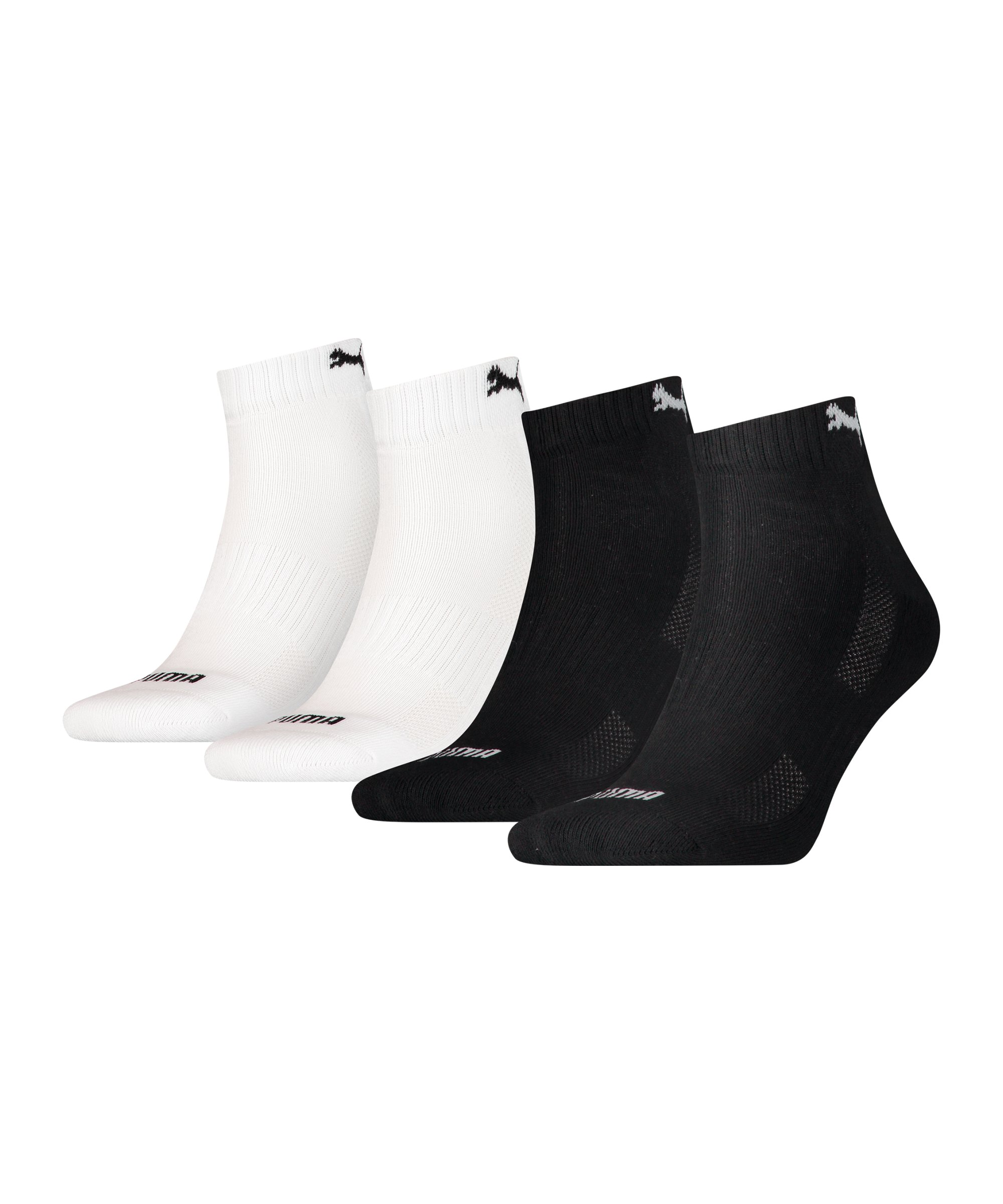 PUMA Quarter Socken 4er Pack Schwarz Weiss F001 - schwarz