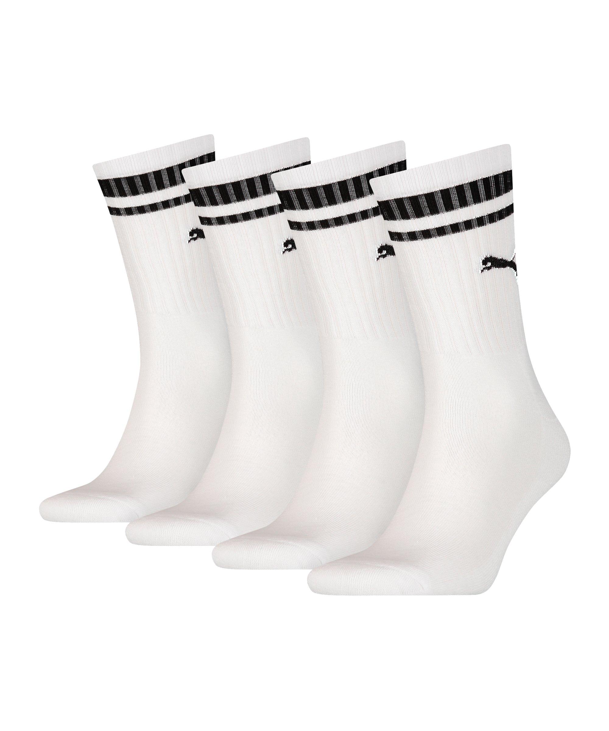PUMA Crew Heritage Stripe 4er Pack Socken F002 - weiss