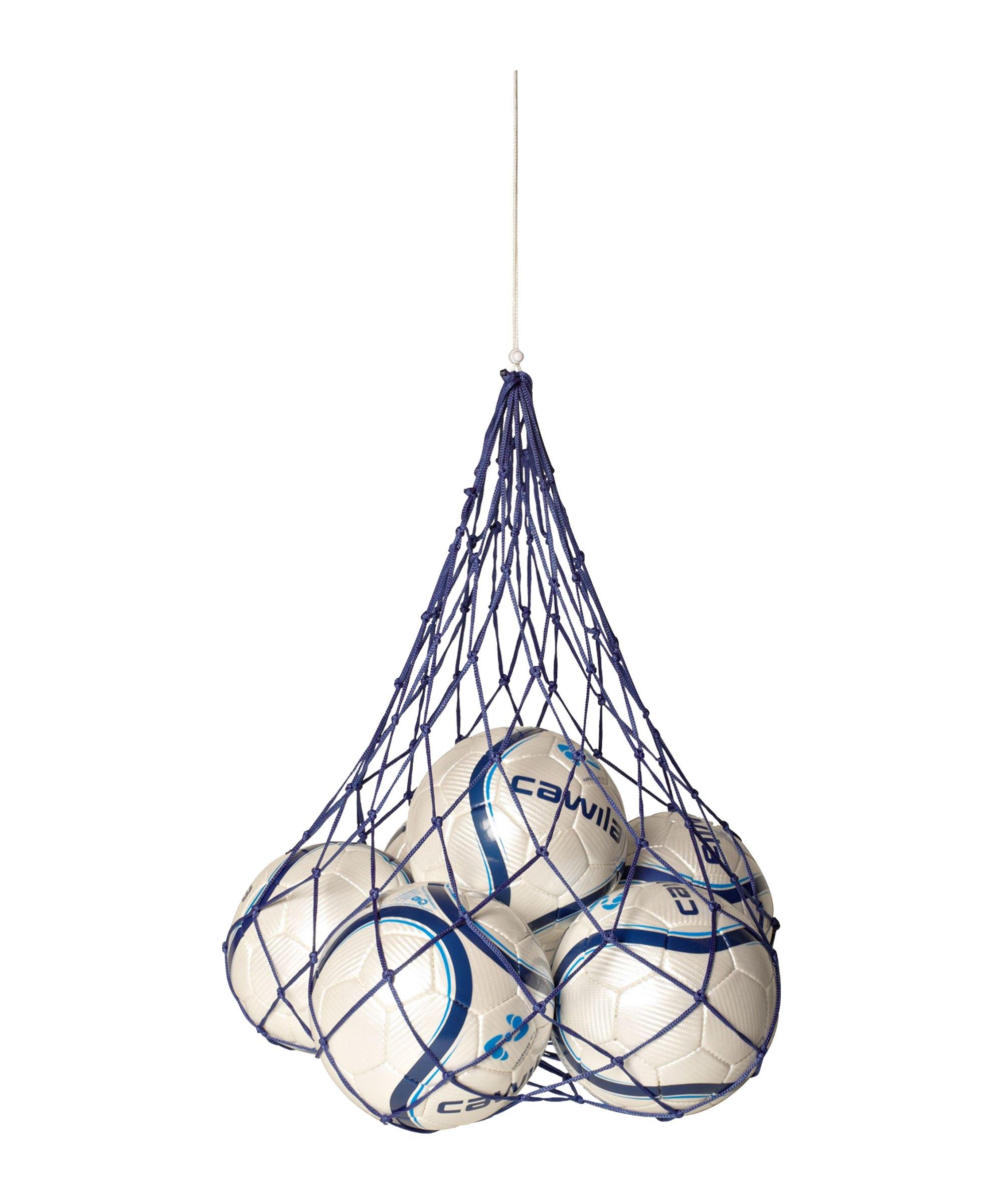 Cawila Nylon-Ballnetz 10 Fussbälle Blau - blau