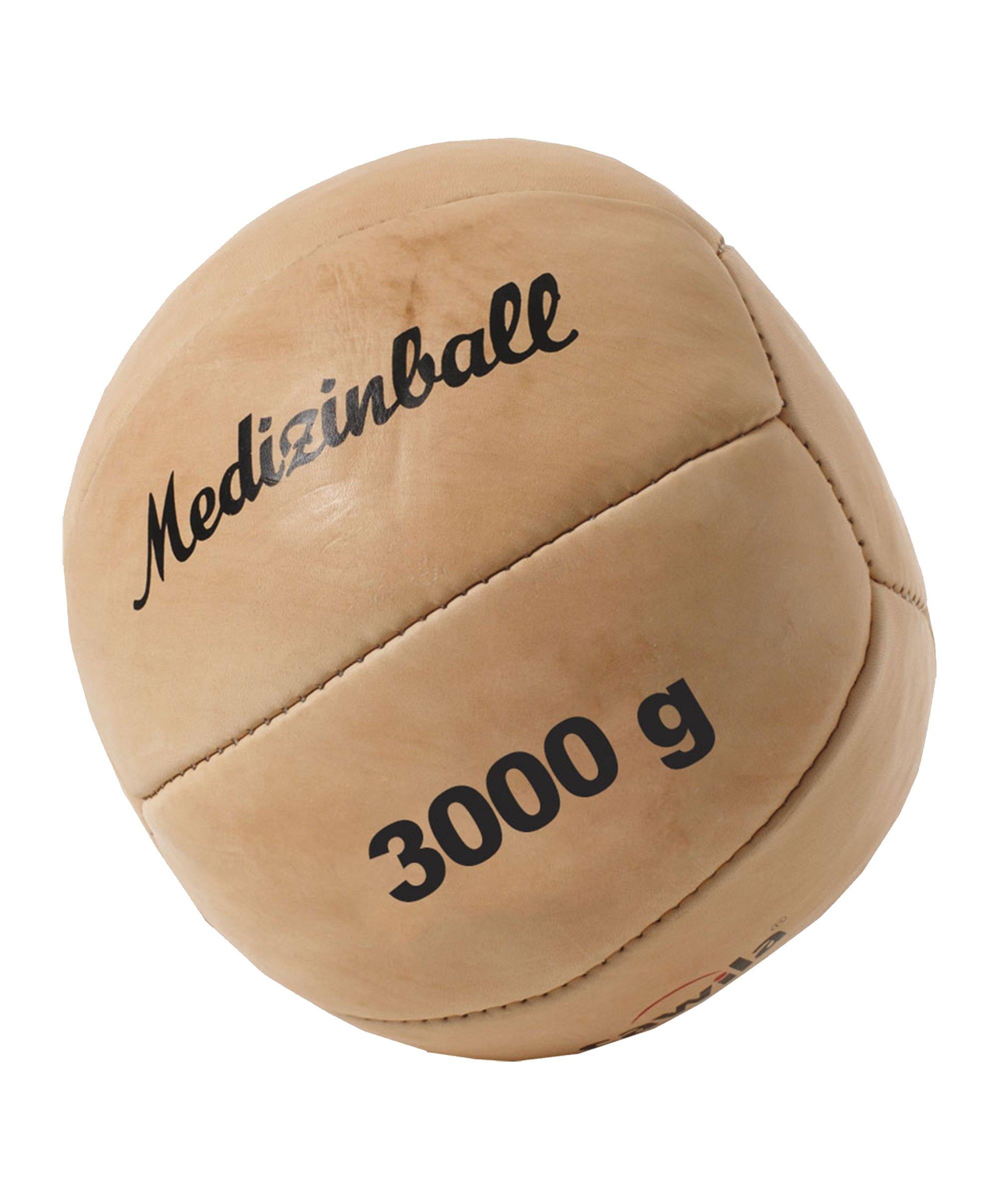 Cawila Leder Medizinball PRO 3,0 Kg Braun - braun