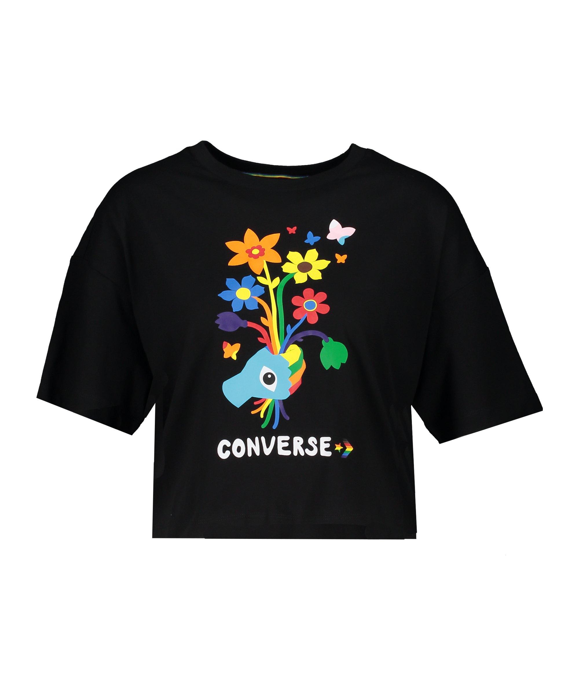Converse Pride Cropped T-Shirt Schwarz F001 - schwarz