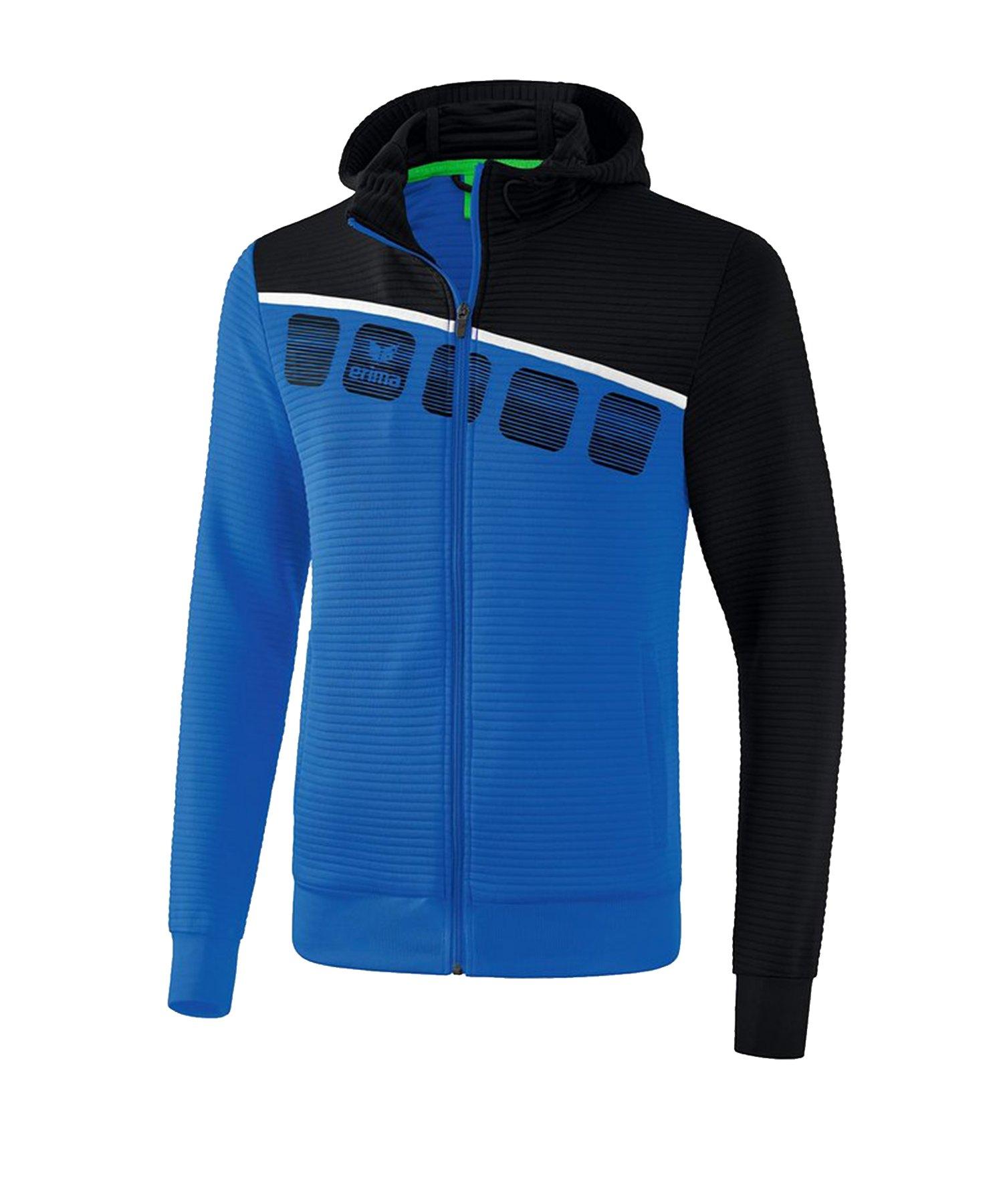 Erima 5-C Trainingsjacke mit Kapuze Blau Schwarz - Blau