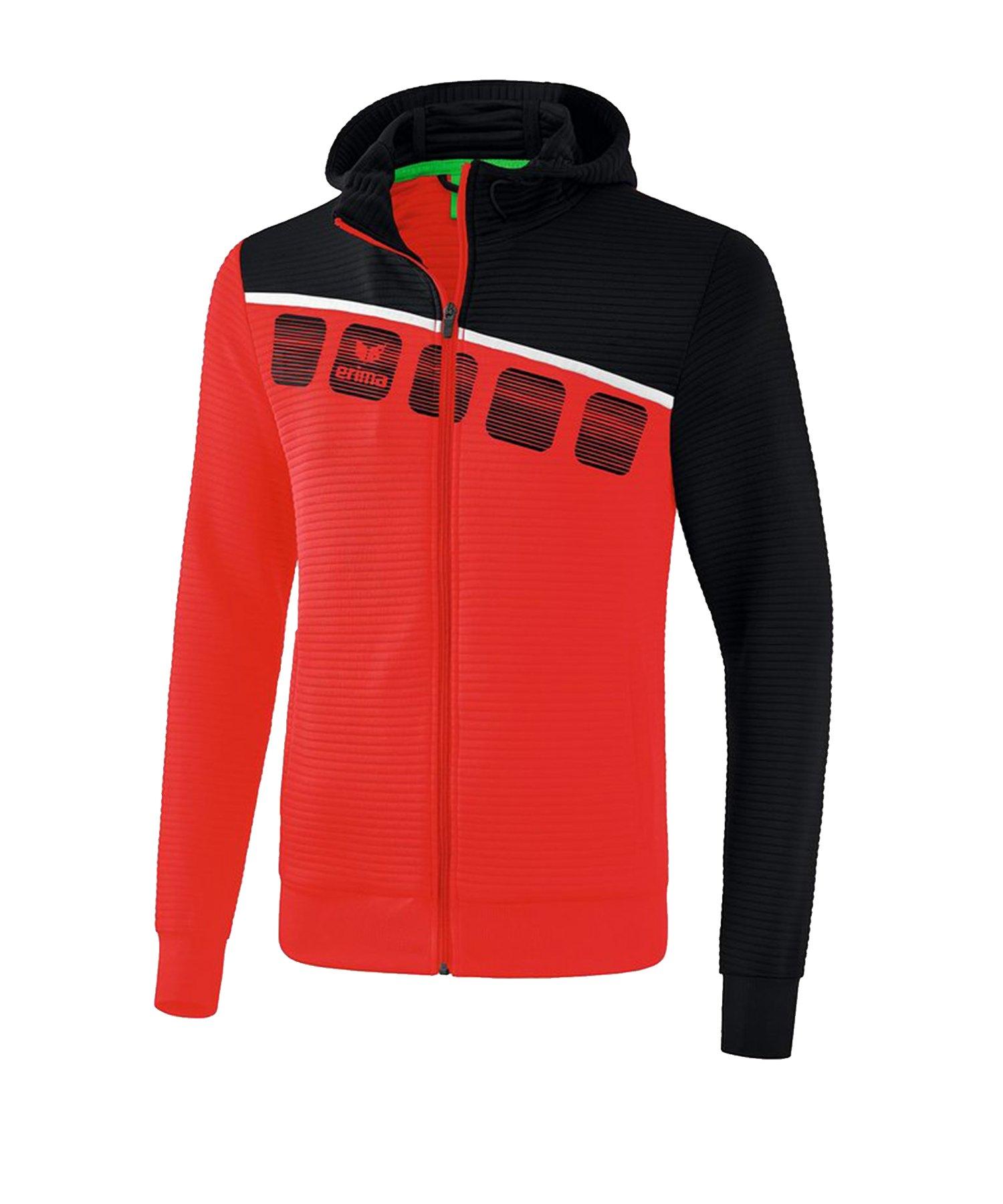Erima 5-C Trainingsjacke mit Kapuze Rot Schwarz - Rot