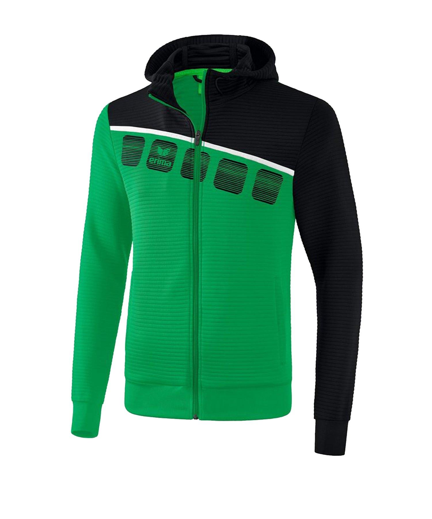 Erima 5-C Trainingsjacke mit Kapuze Grün Schwarz - Gruen