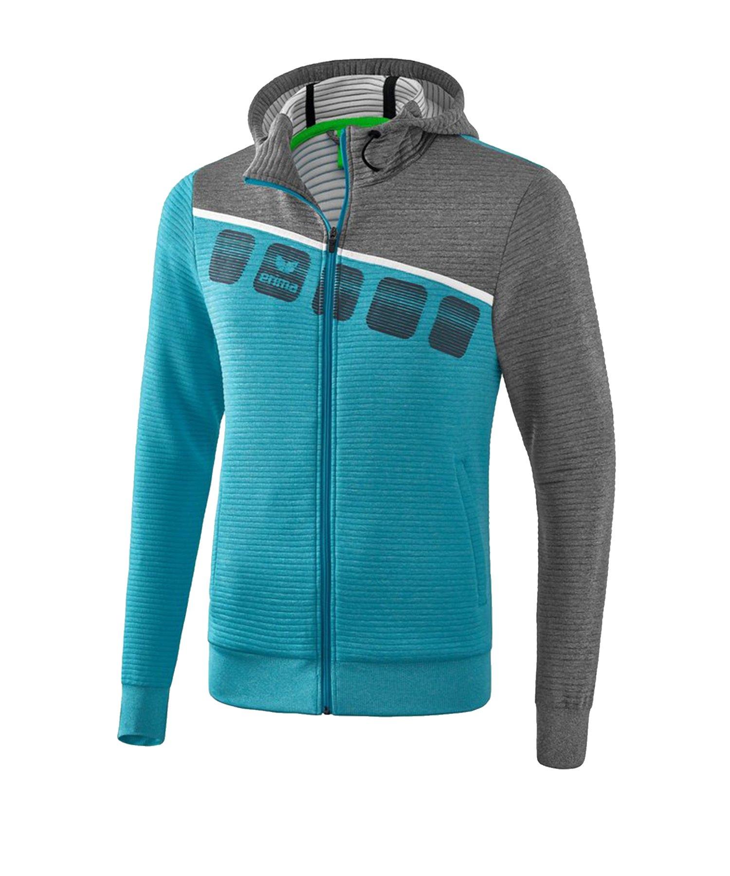 Erima 5-C Trainingsjacke mit Kapuze Blau Grau - Blau