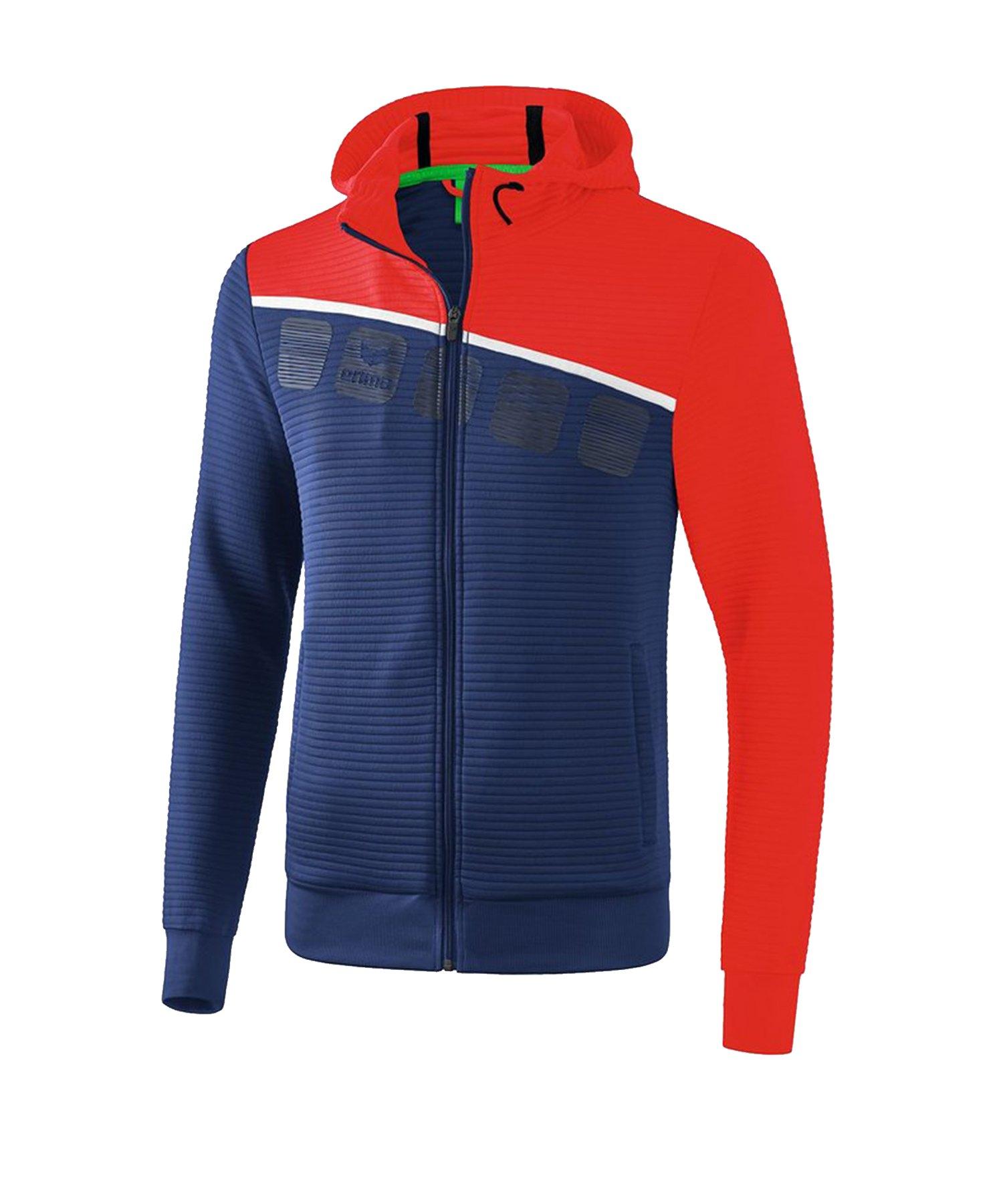 Erima 5-C Trainingsjacke mit Kapuze Kids Blau Rot - Blau