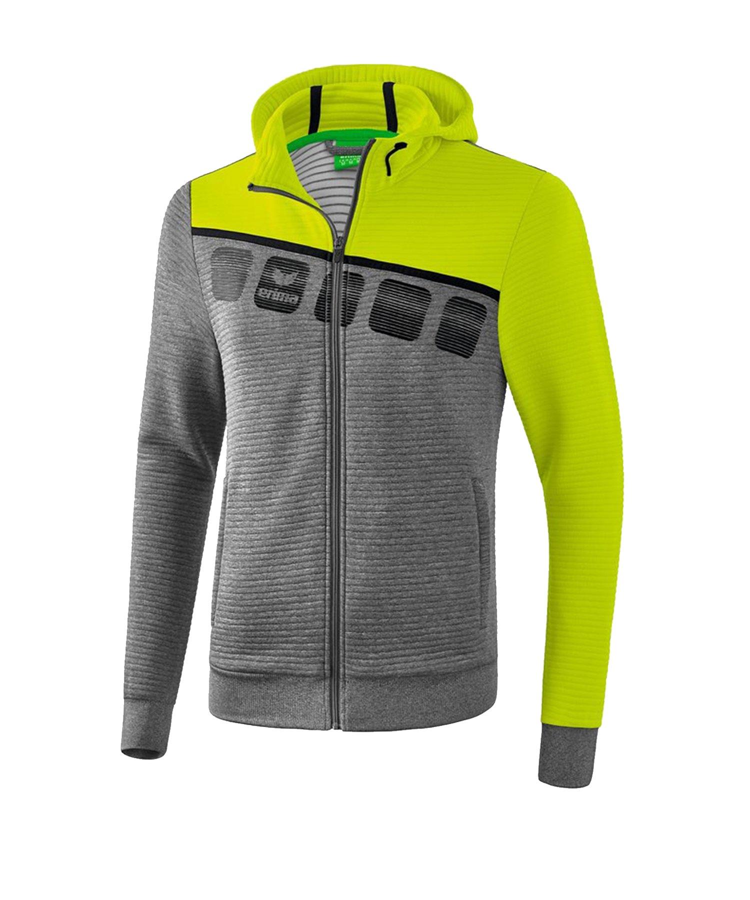 Erima 5-C Trainingsjacke mit Kapuze Grau Grün - Grau