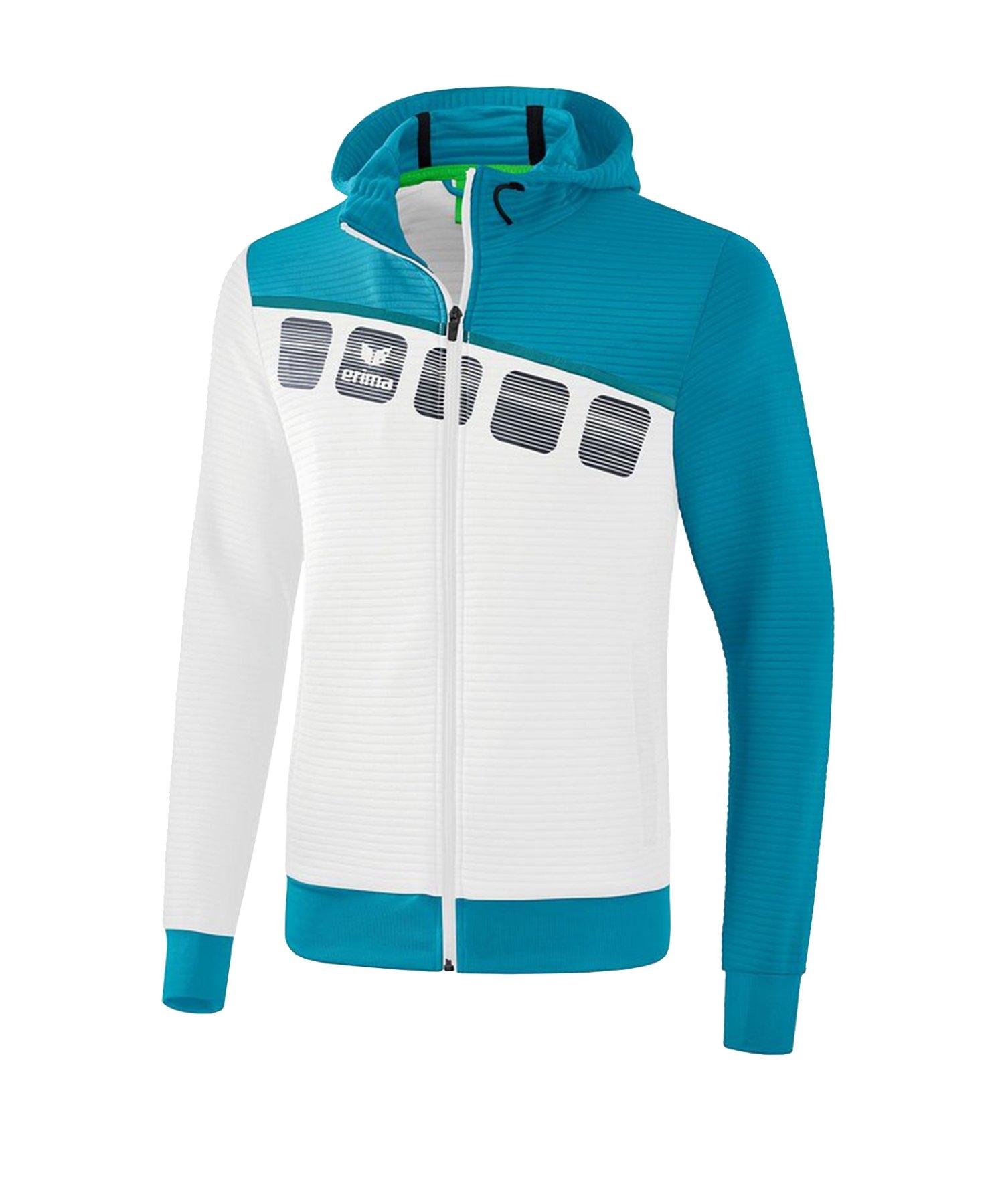 Erima 5-C Trainingsjacke mit Kapuze Weiss Blau - Weiss