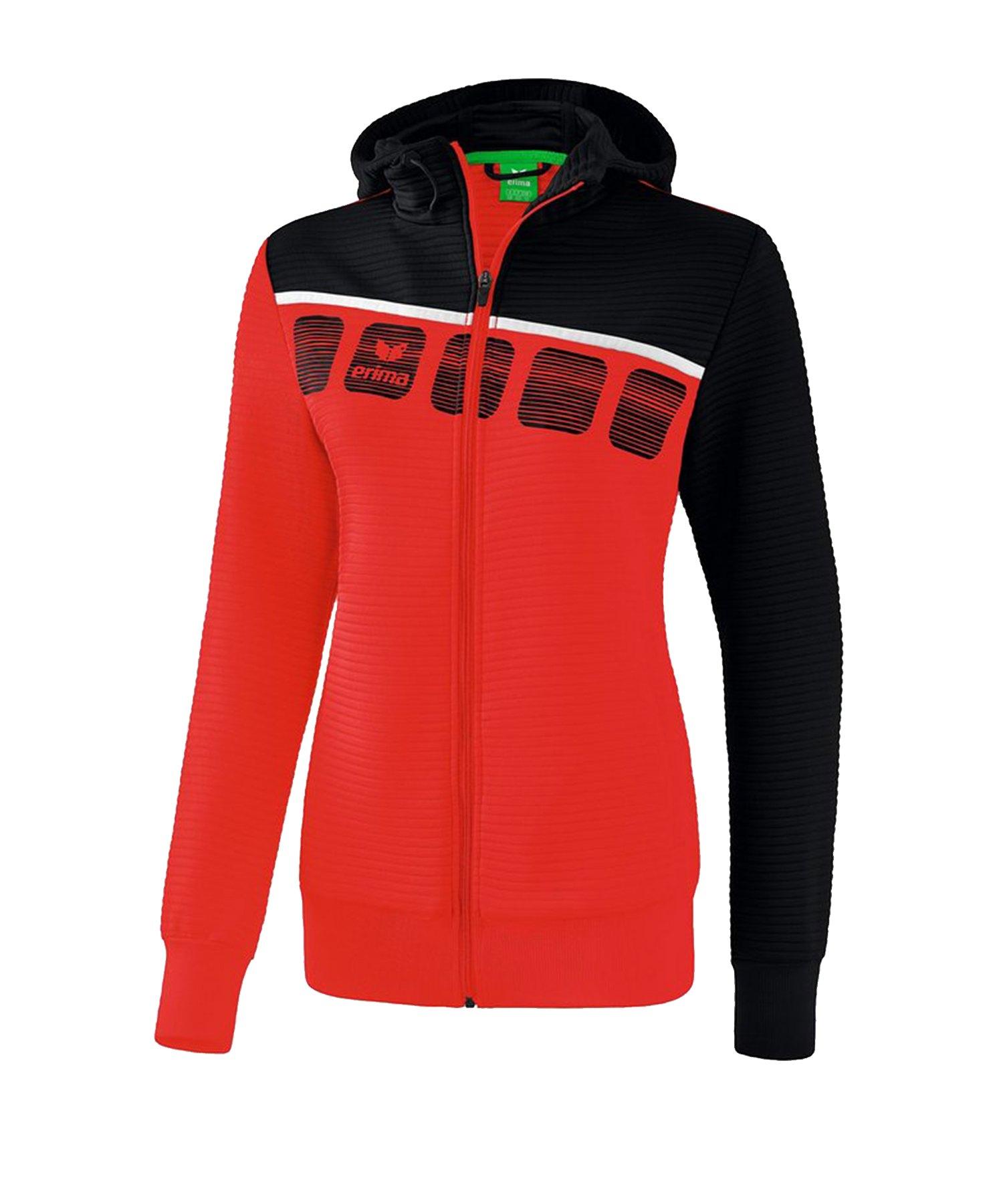 Erima 5-C Trainingsjacke Kapuze Damen Rot Schwarz - Rot