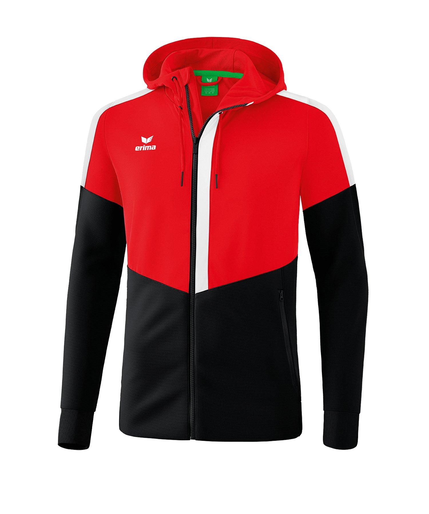 Erima Squad Kapuzen-Trainingsjacke Rot Schwarz - rot