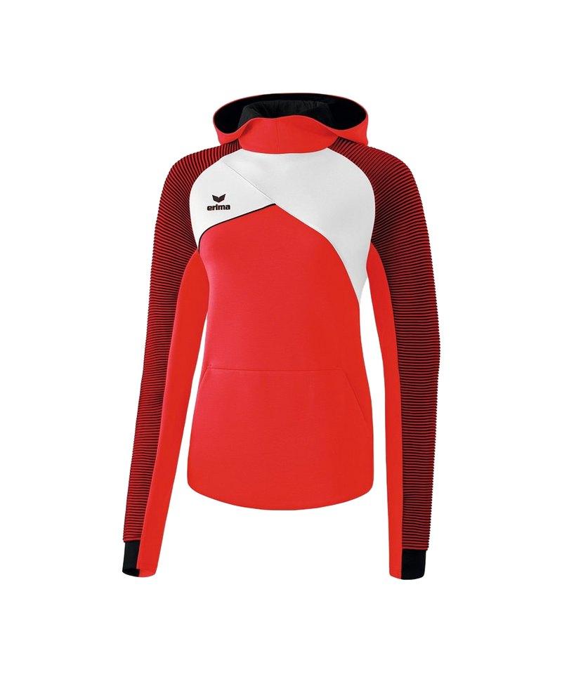 Erima Premium One 2.0 Kapuzensweat Damen Rot Weiss - rot
