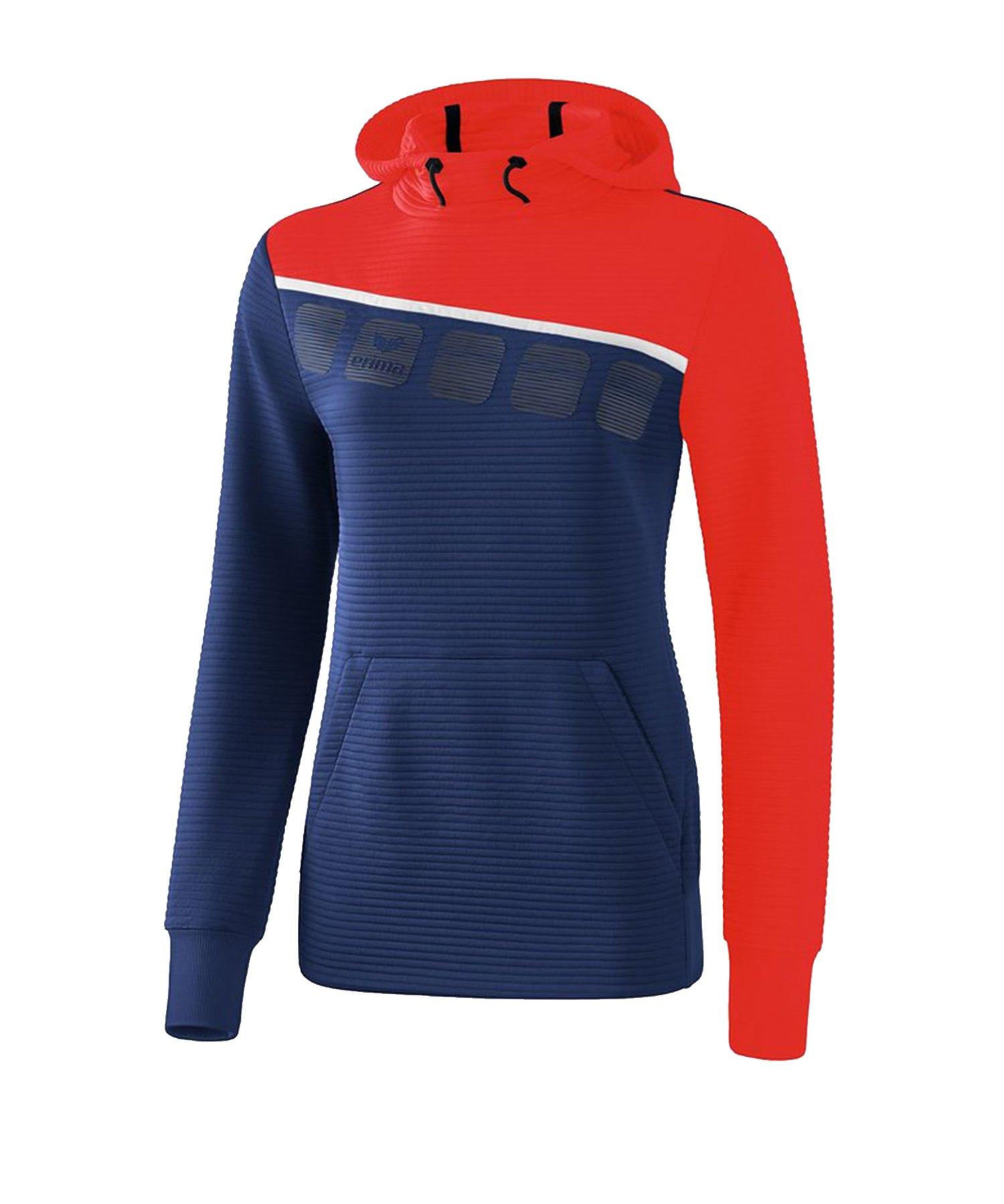 Erima 5-C Kapuzensweat Damen Blau Rot - Blau