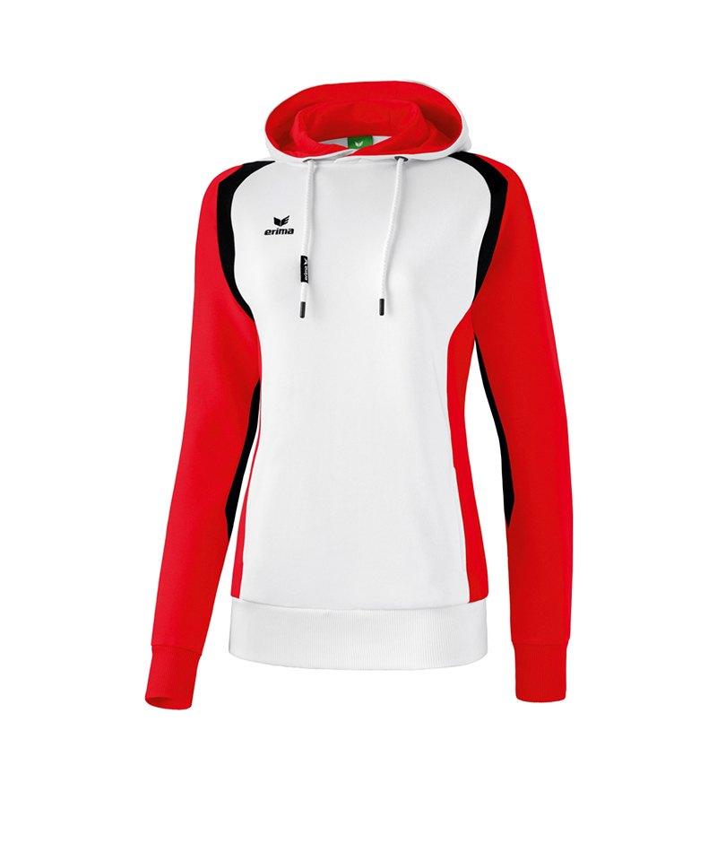 Erima Razor 2.0 Kapuzensweatshirt Damen Weiss Rot - weiss