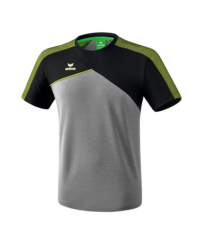 Erima Premium One 2.0 T-Shirt Grau Schwarz Grün - grau