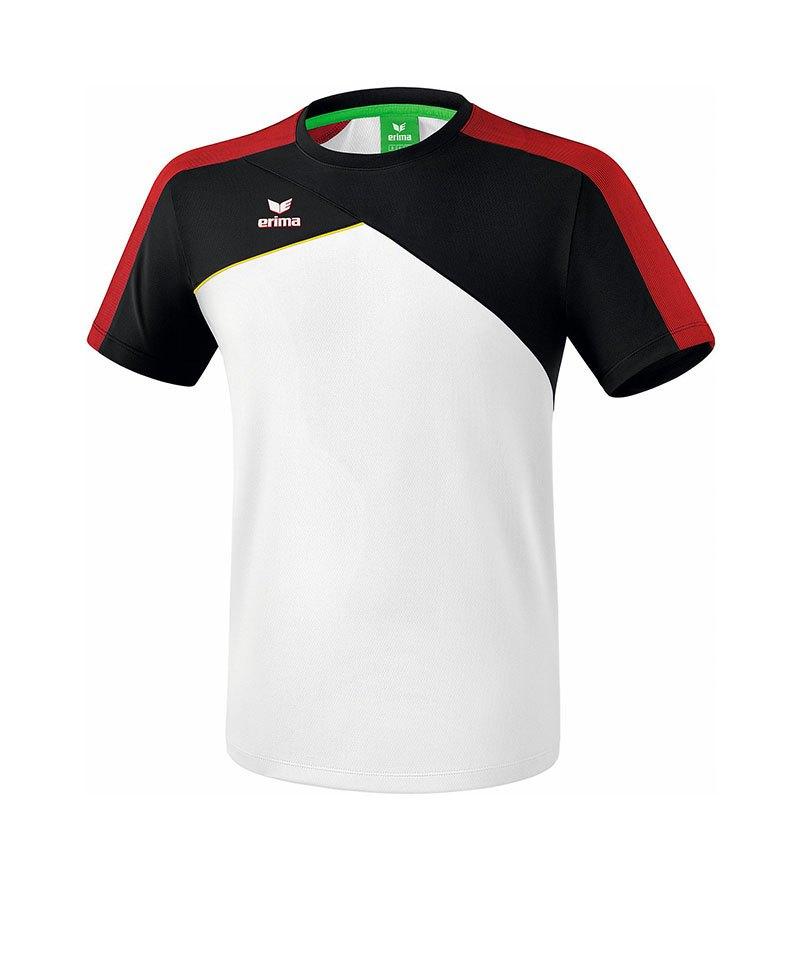 Erima Premium One 2.0 T-Shirt Weiss Schwarz Rot - weiss