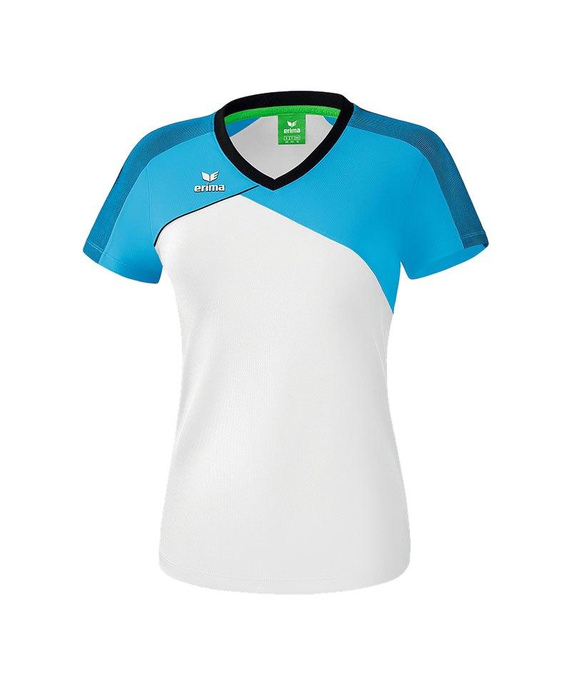Erima Premium One 2.0 T-Shirt Damen Hellblau Weiss - blau