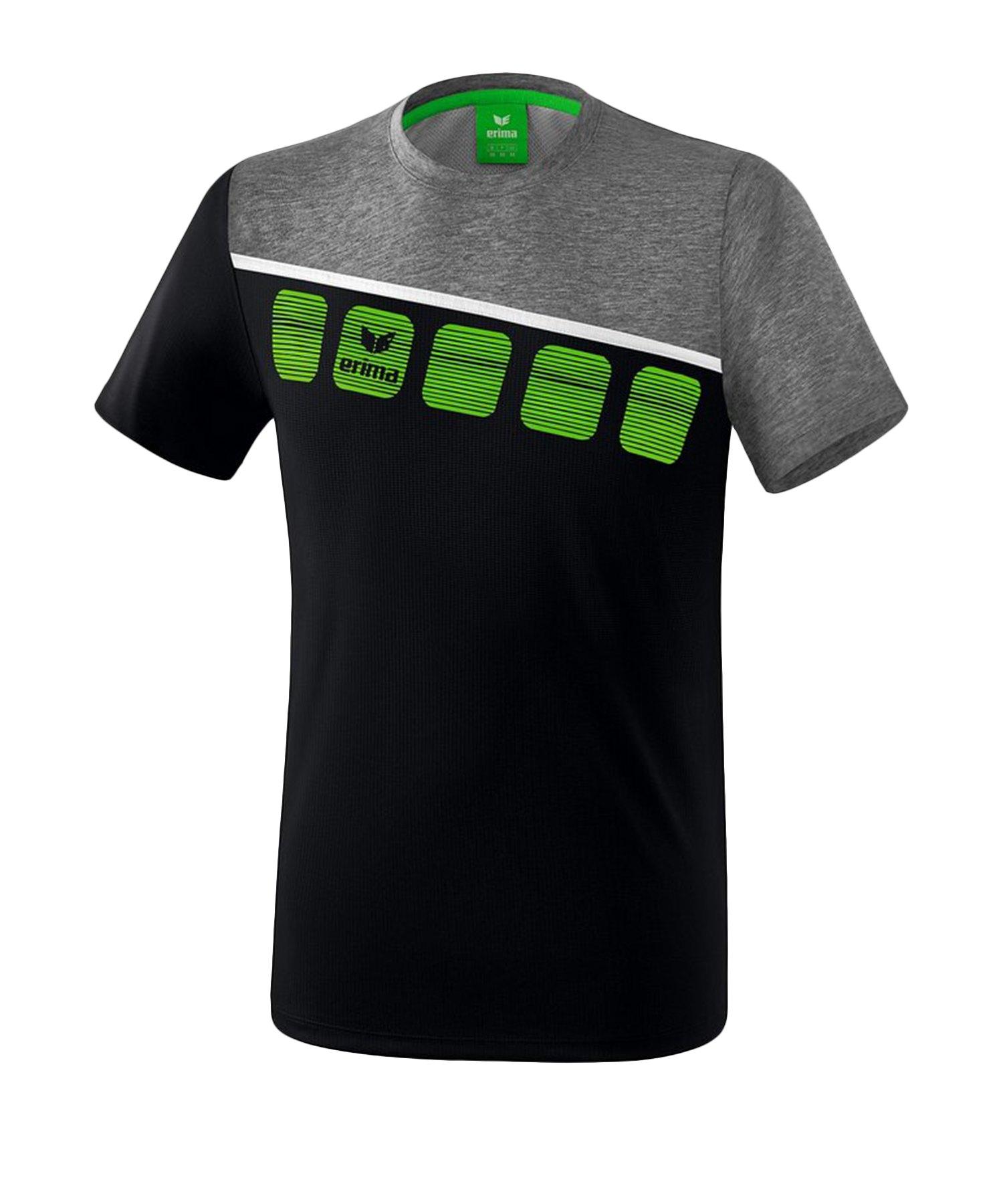 Erima 5-C T-Shirt Schwarz Grau - Schwarz