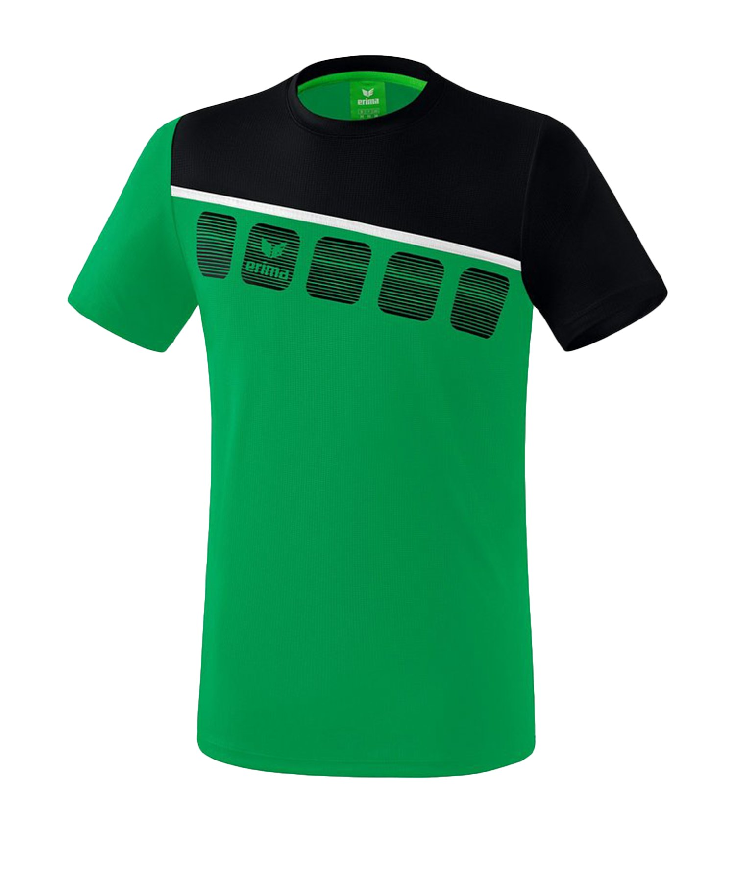 Erima 5-C T-Shirt Grün Schwarz - Gruen