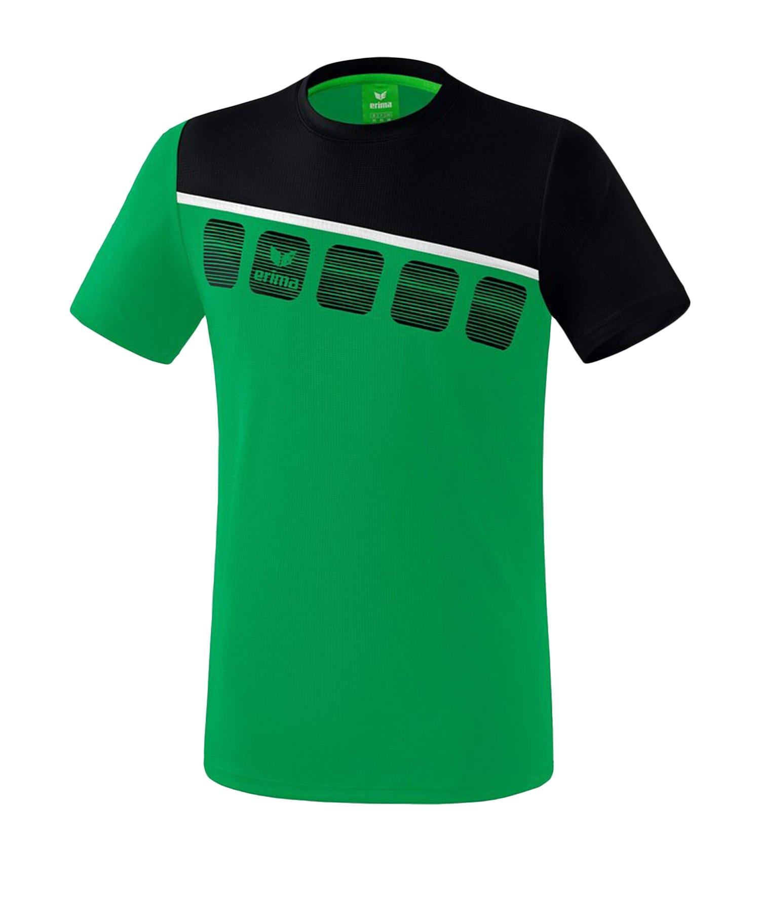 Erima 5-C T-Shirt Kids Grün Schwarz - Gruen