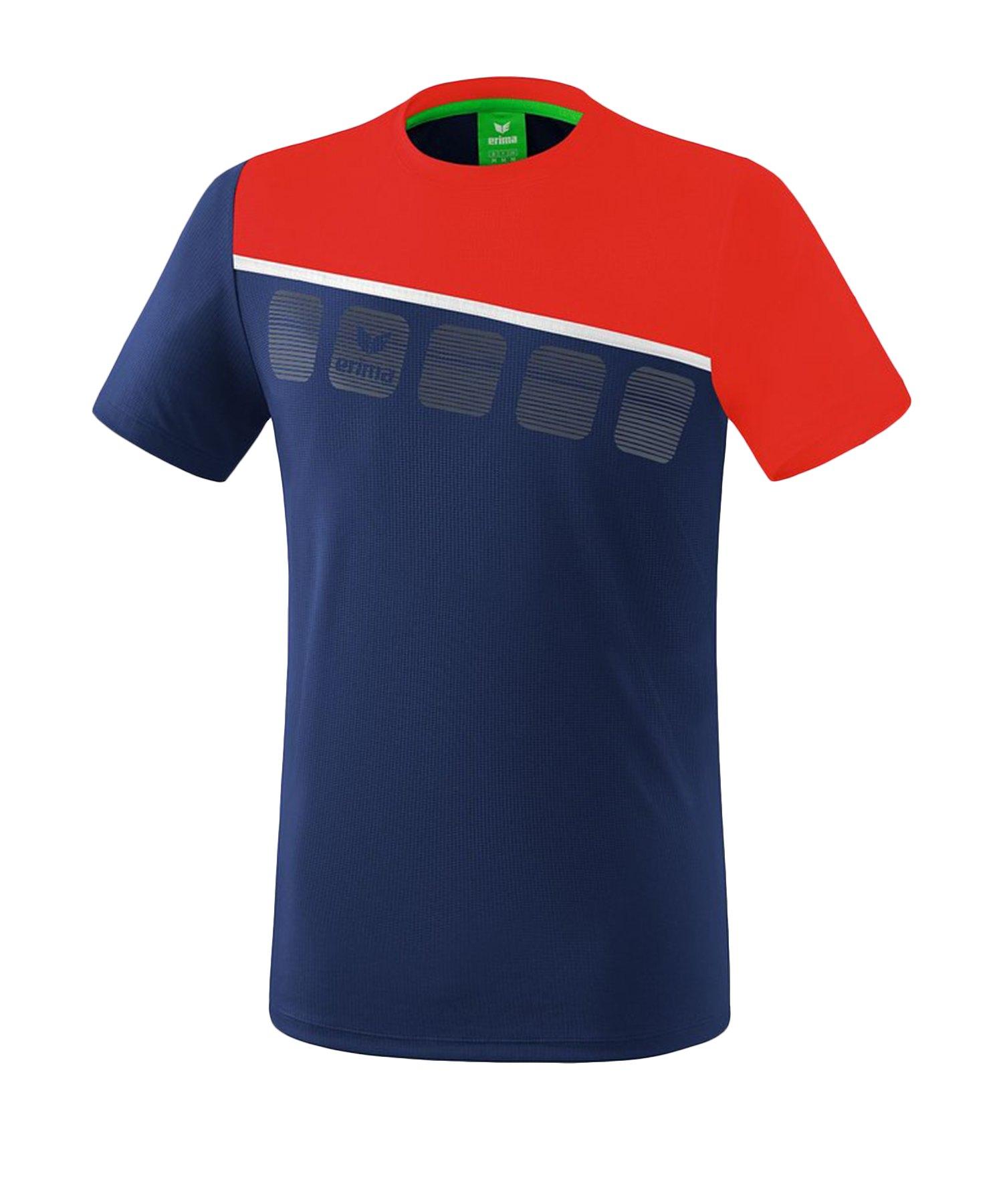 Erima 5-C T-Shirt Blau Rot - Blau