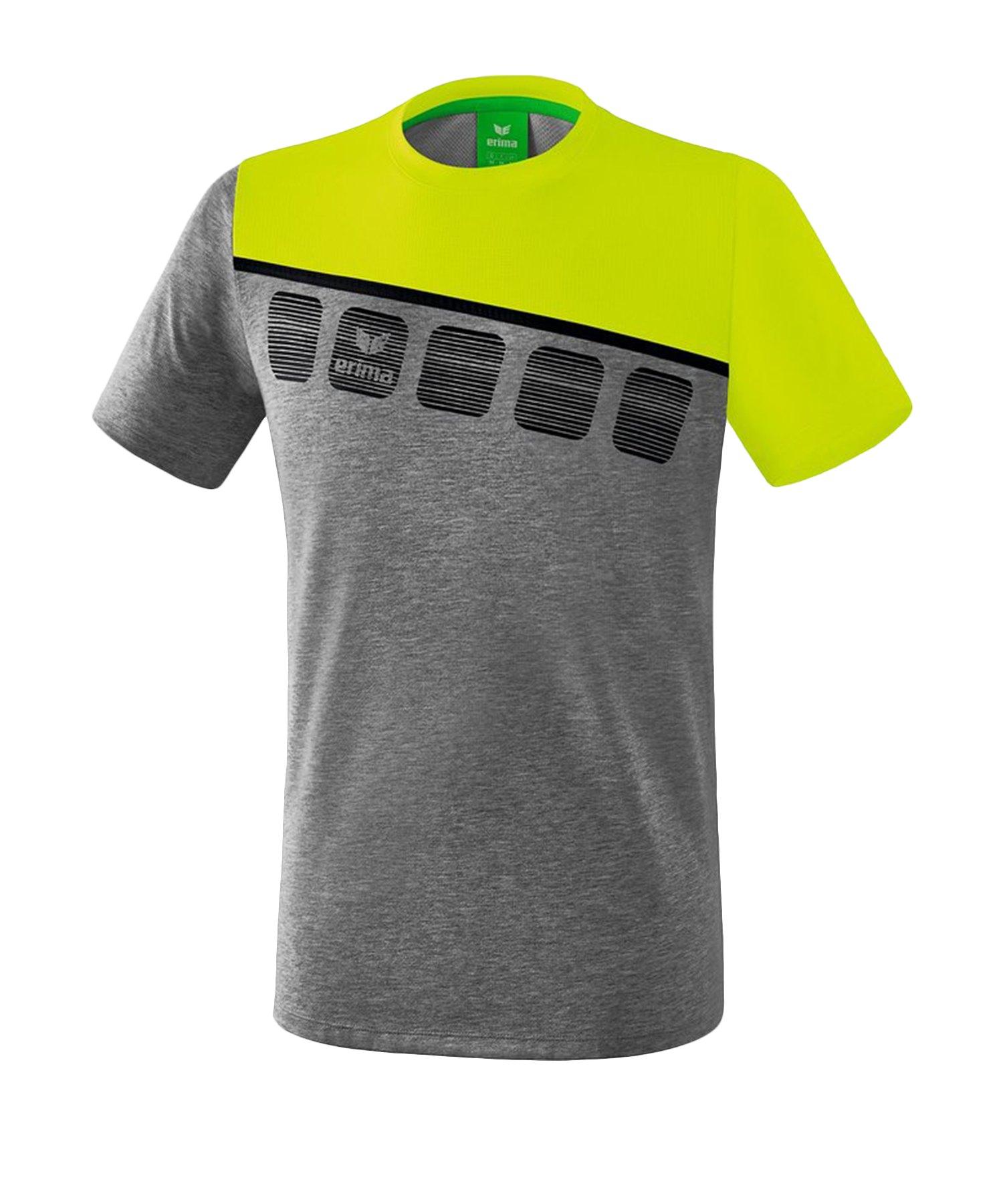 Erima 5-C T-Shirt Grau Grün - Grau