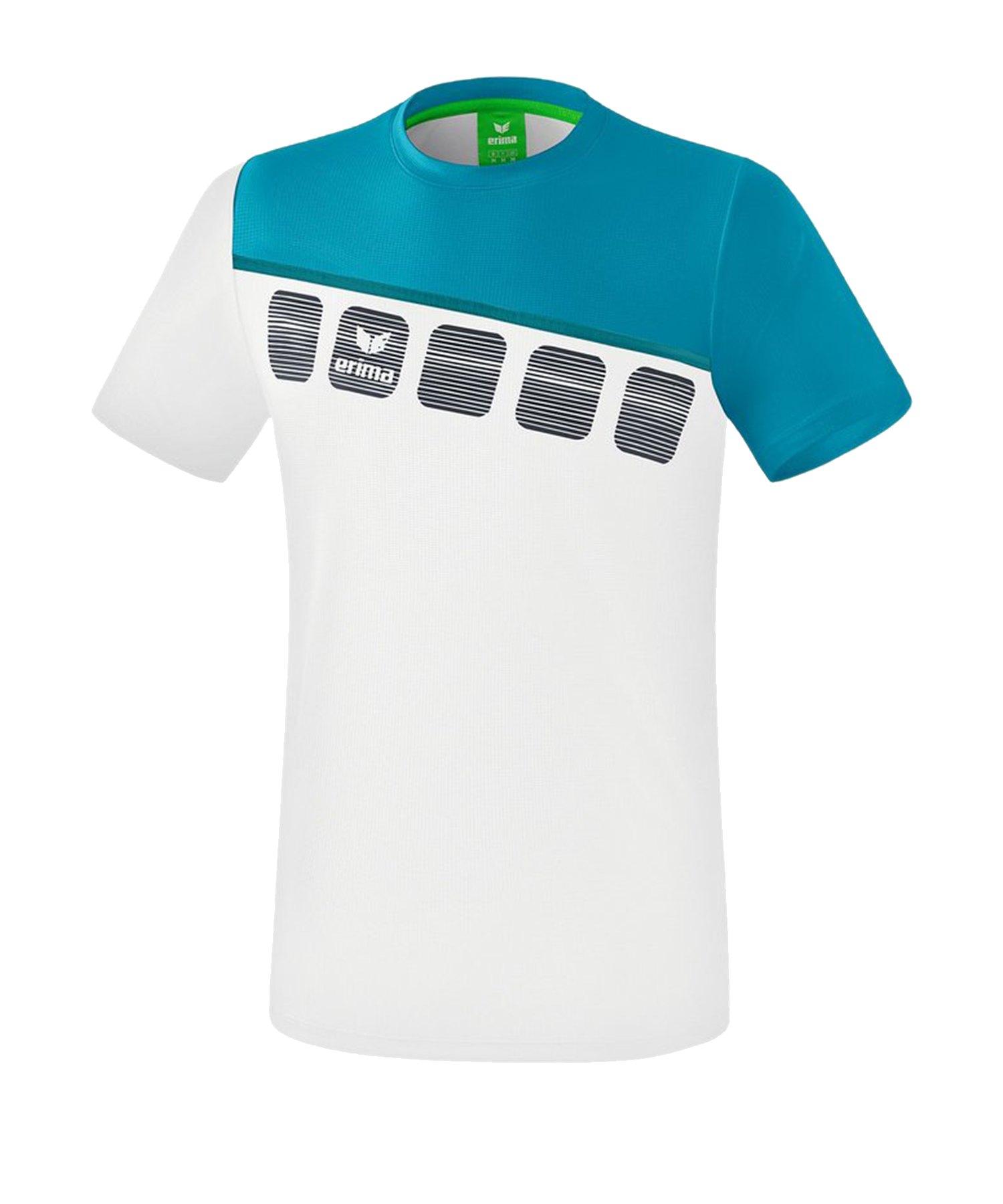 Erima 5-C T-Shirt Weiss Blau - Weiss