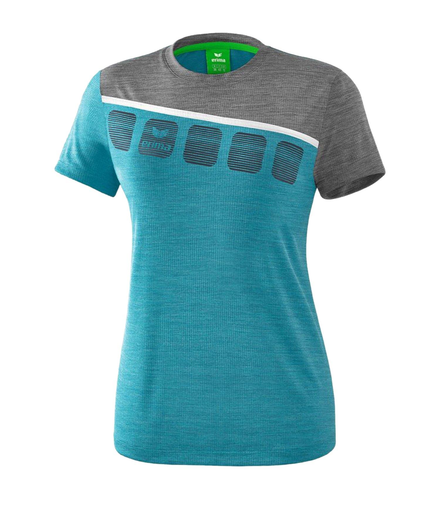 Erima 5-C T-Shirt Damen Blau Grau - Blau