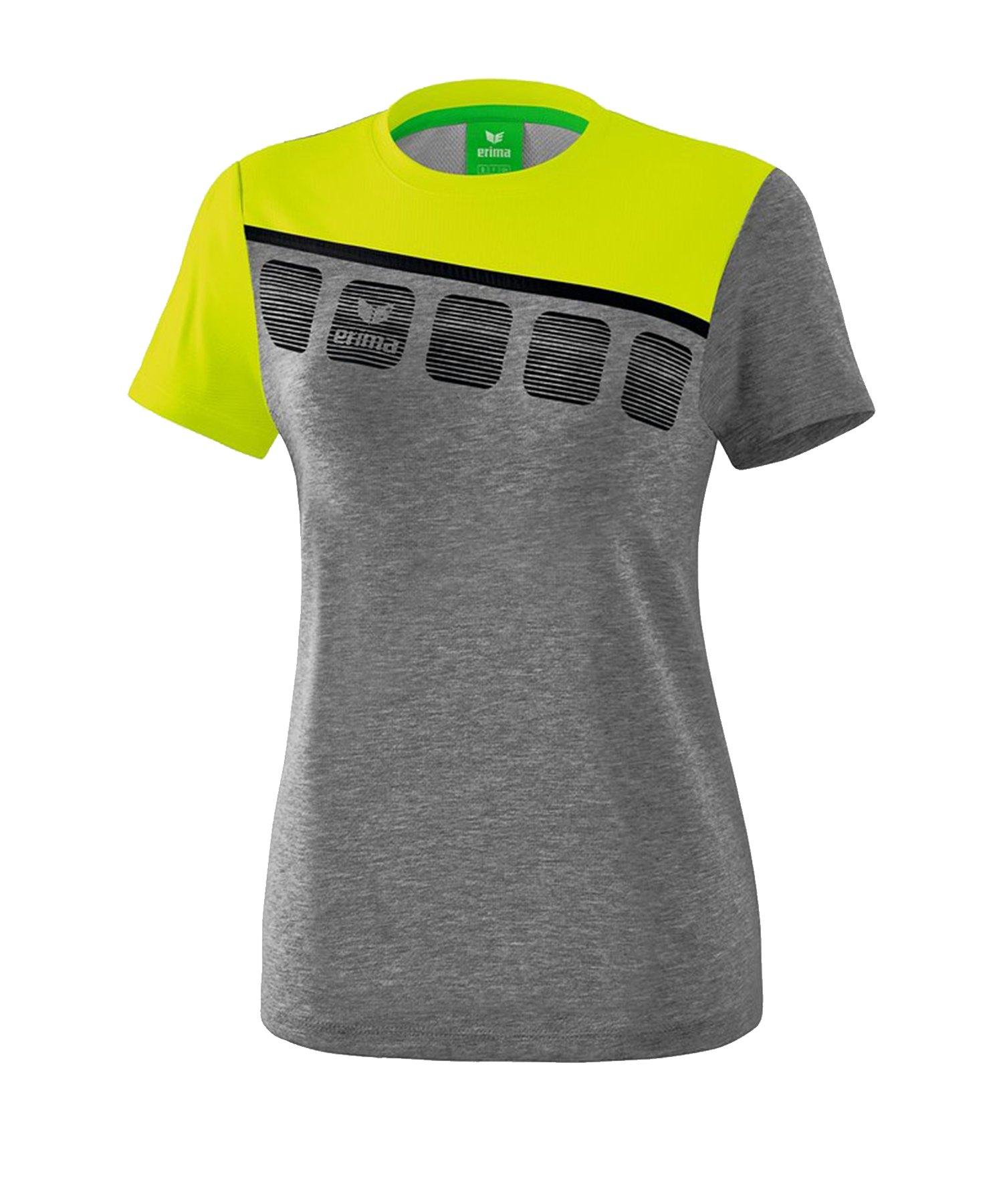 Erima 5-C T-Shirt Damen Grau Grün - Grau