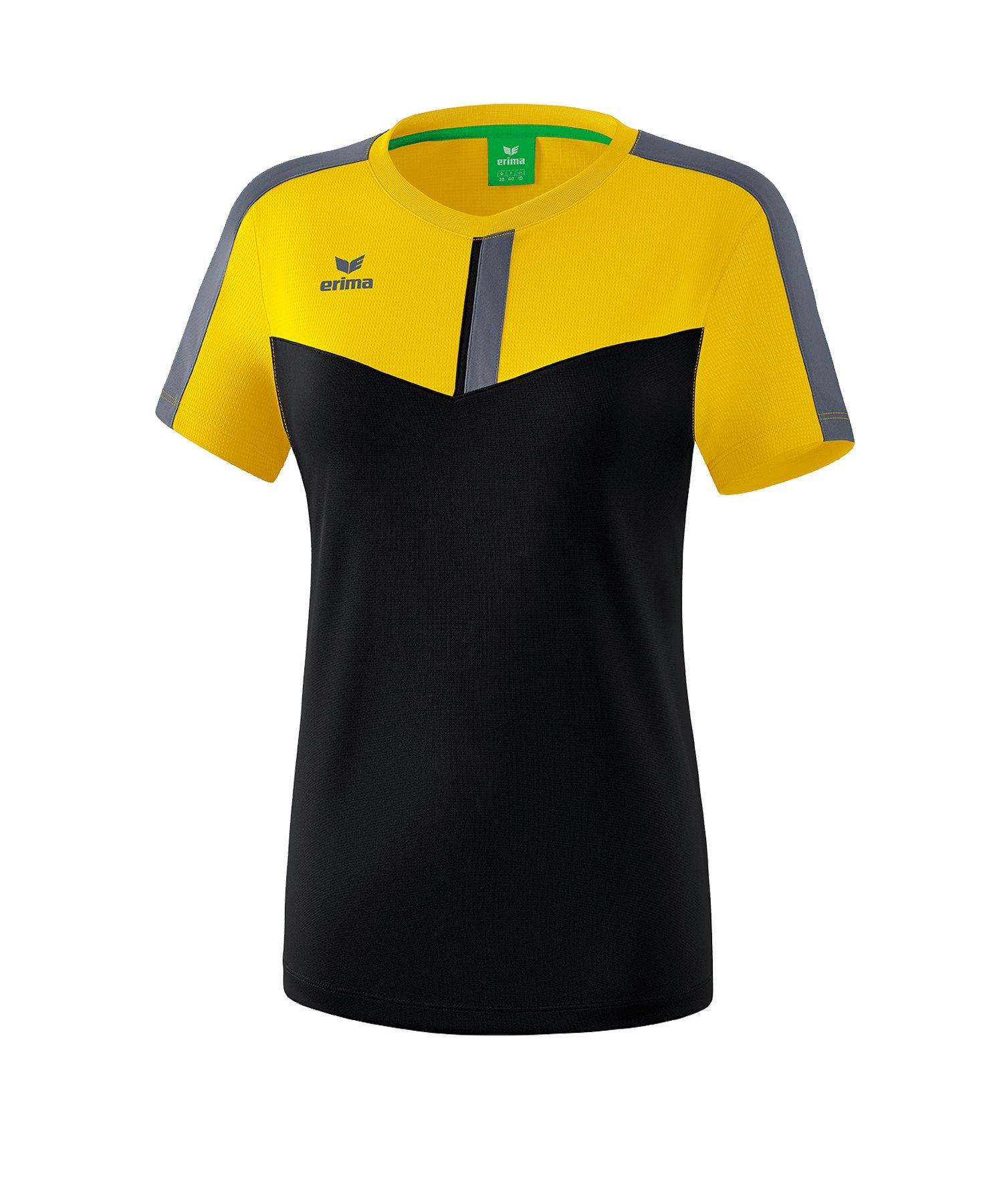 Erima Squad T-Shirt Damen Gelb Schwarz - gelb