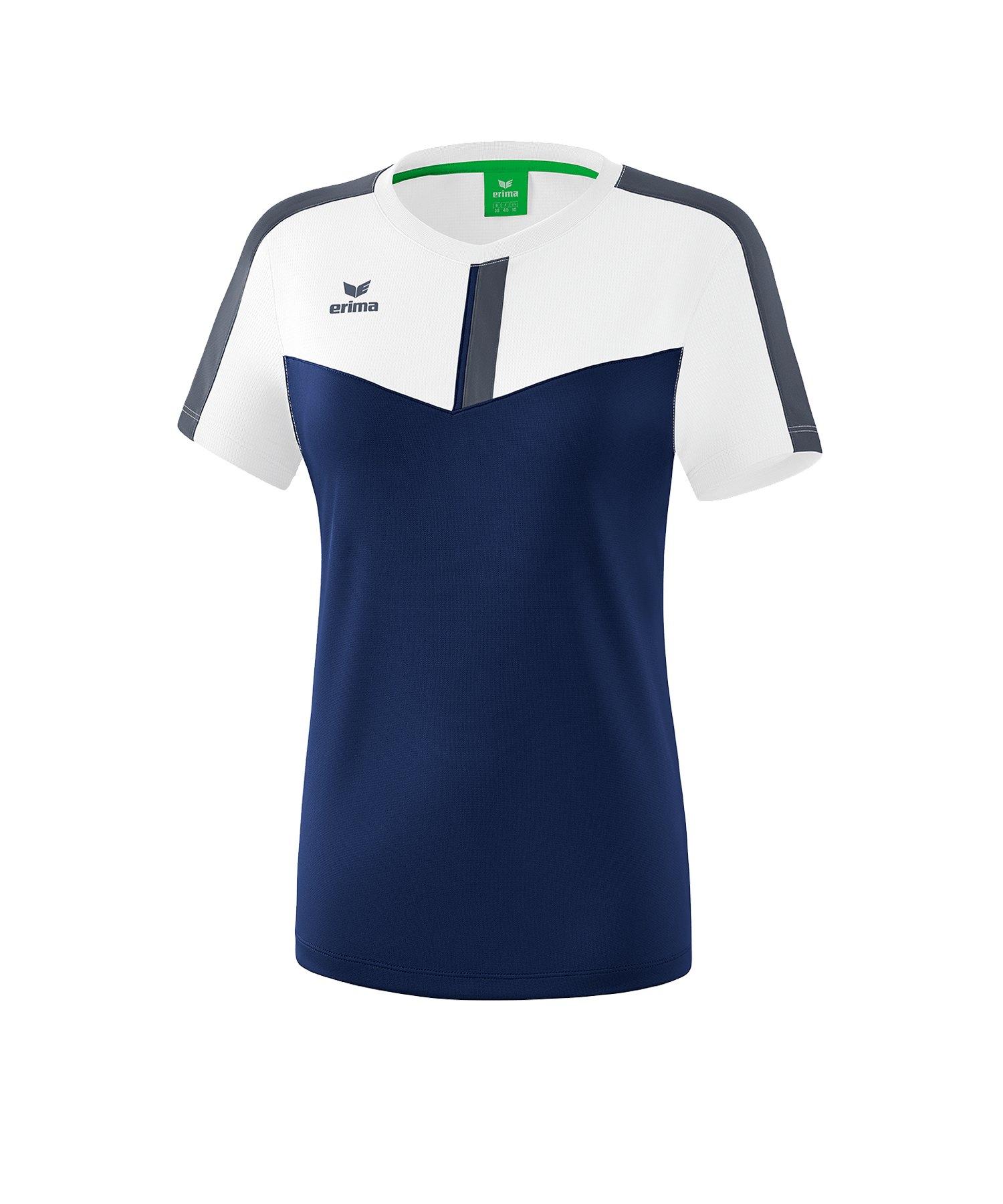 Erima Squad T-Shirt Damen Weiss Blau - weiss