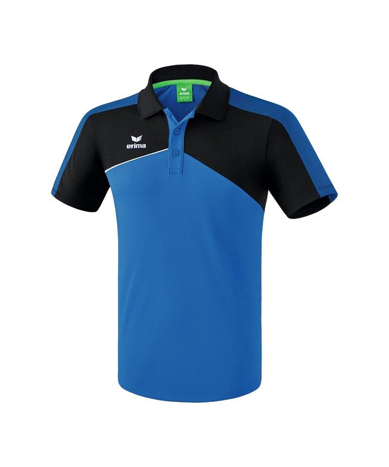 Erima Premium One 2.0 Poloshirt Blau Schwarz - blau