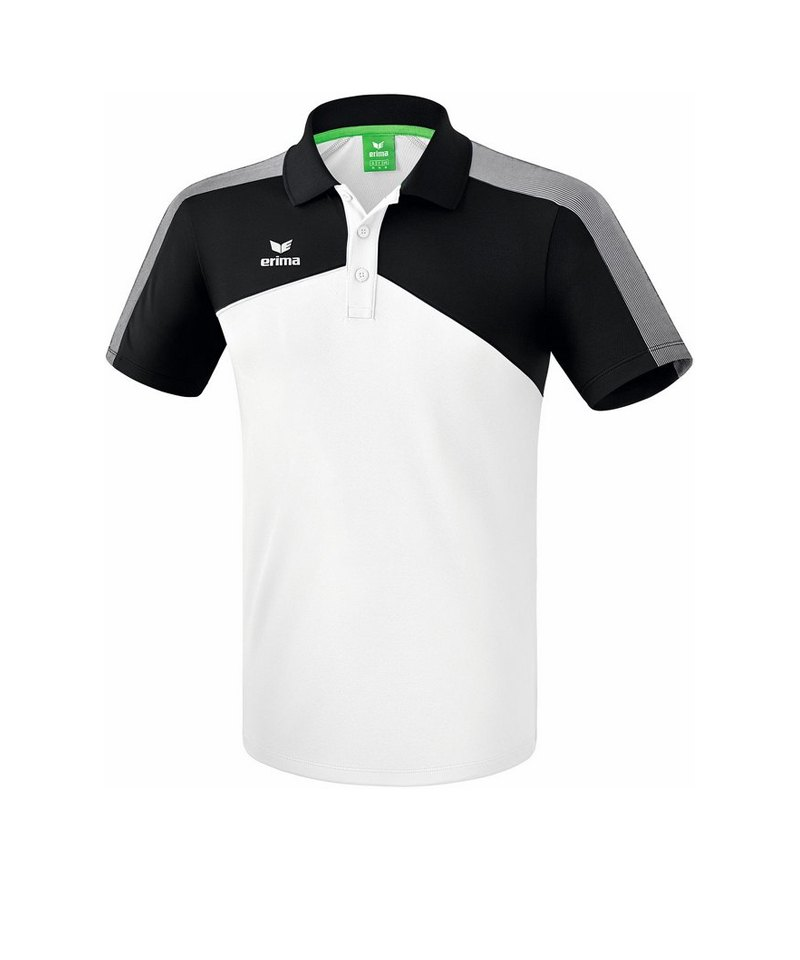 Erima Premium One 2.0 Poloshirt Weiss Schwarz Grau - weiss