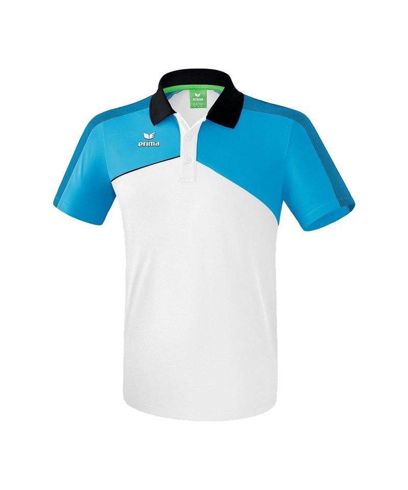 Erima Premium One 2.0 Poloshirt Hellblau Weiss - blau
