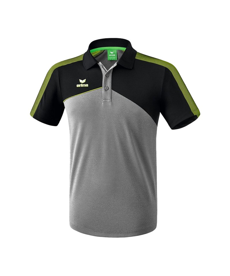 Erima Premium One 2.0 Poloshirt Grau Schwarz Grün - grau