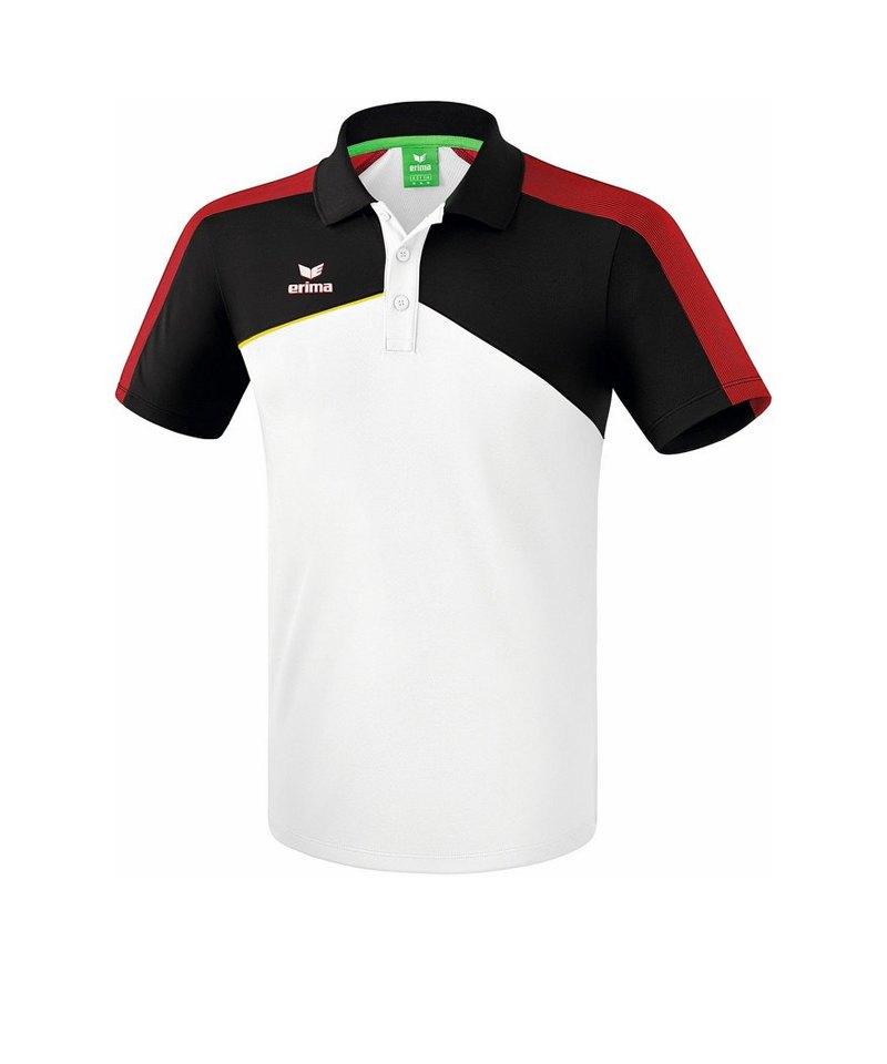 Erima Premium One 2.0 Poloshirt Weiss Schwarz Rot - weiss