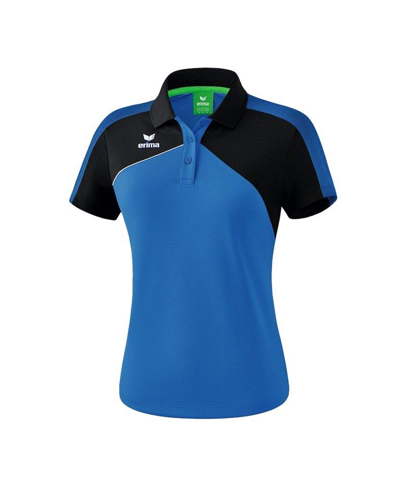 Erima Premium One 2.0 Poloshirt Damen Blau Schwarz - blau