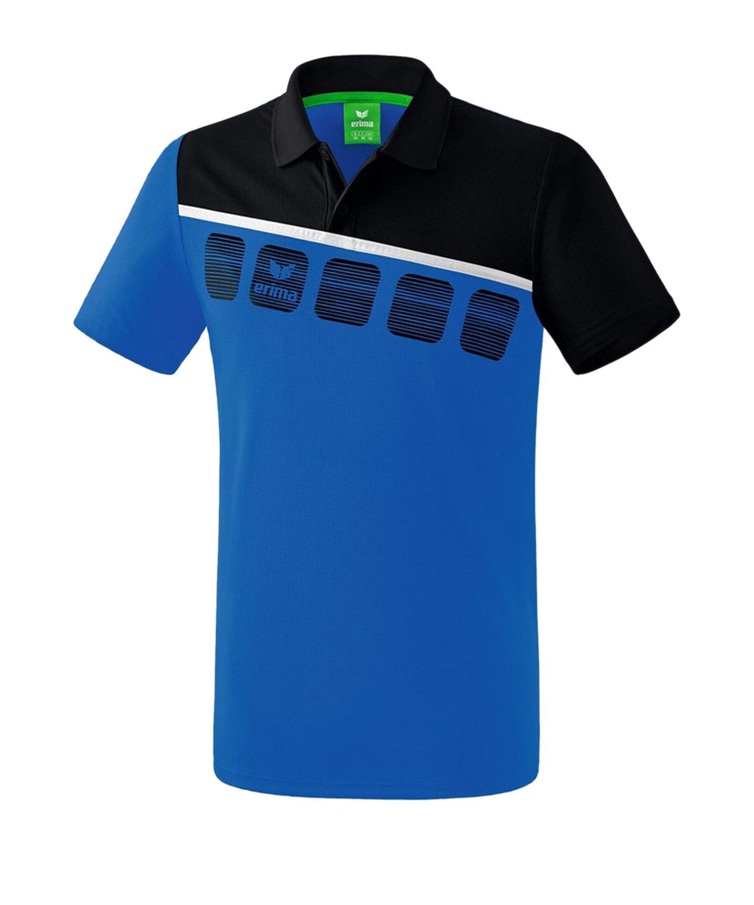 Erima 5-C Poloshirt Blau Schwarz - Blau