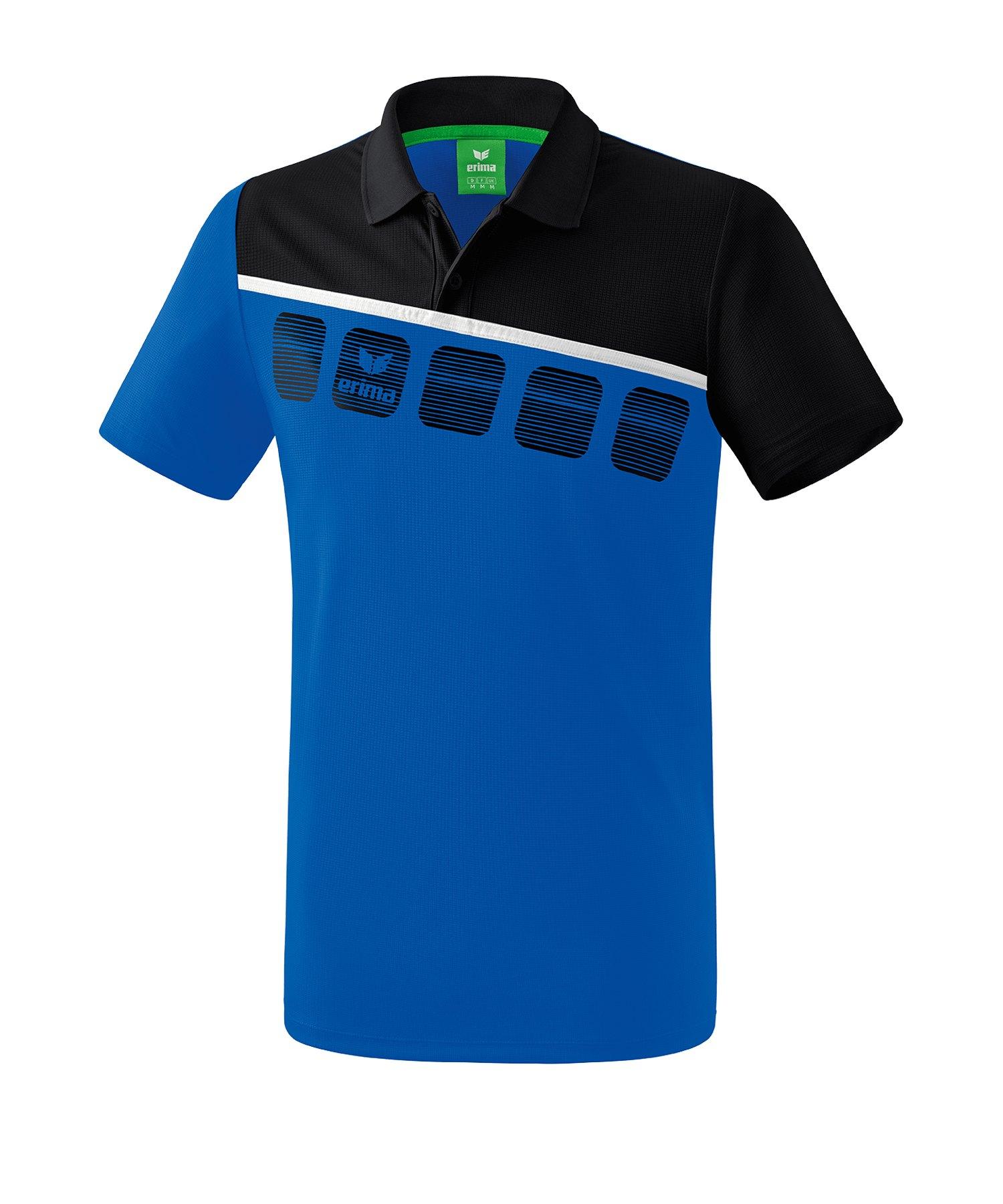 Erima 5-C Poloshirt Kids Blau Schwarz - Blau