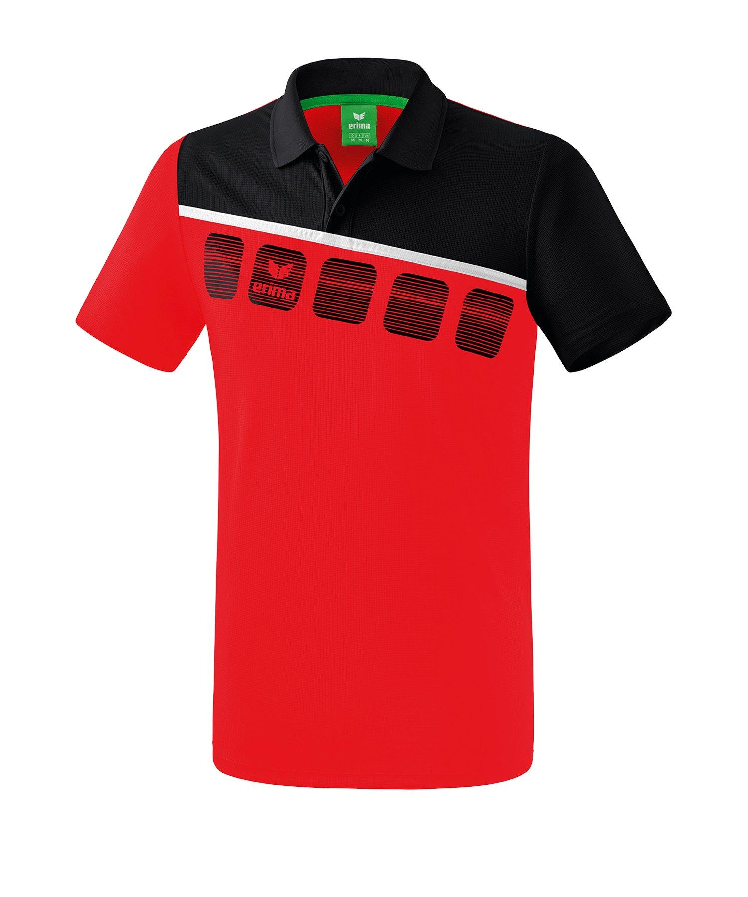 Erima 5-C Poloshirt Kids Rot Schwarz - Rot