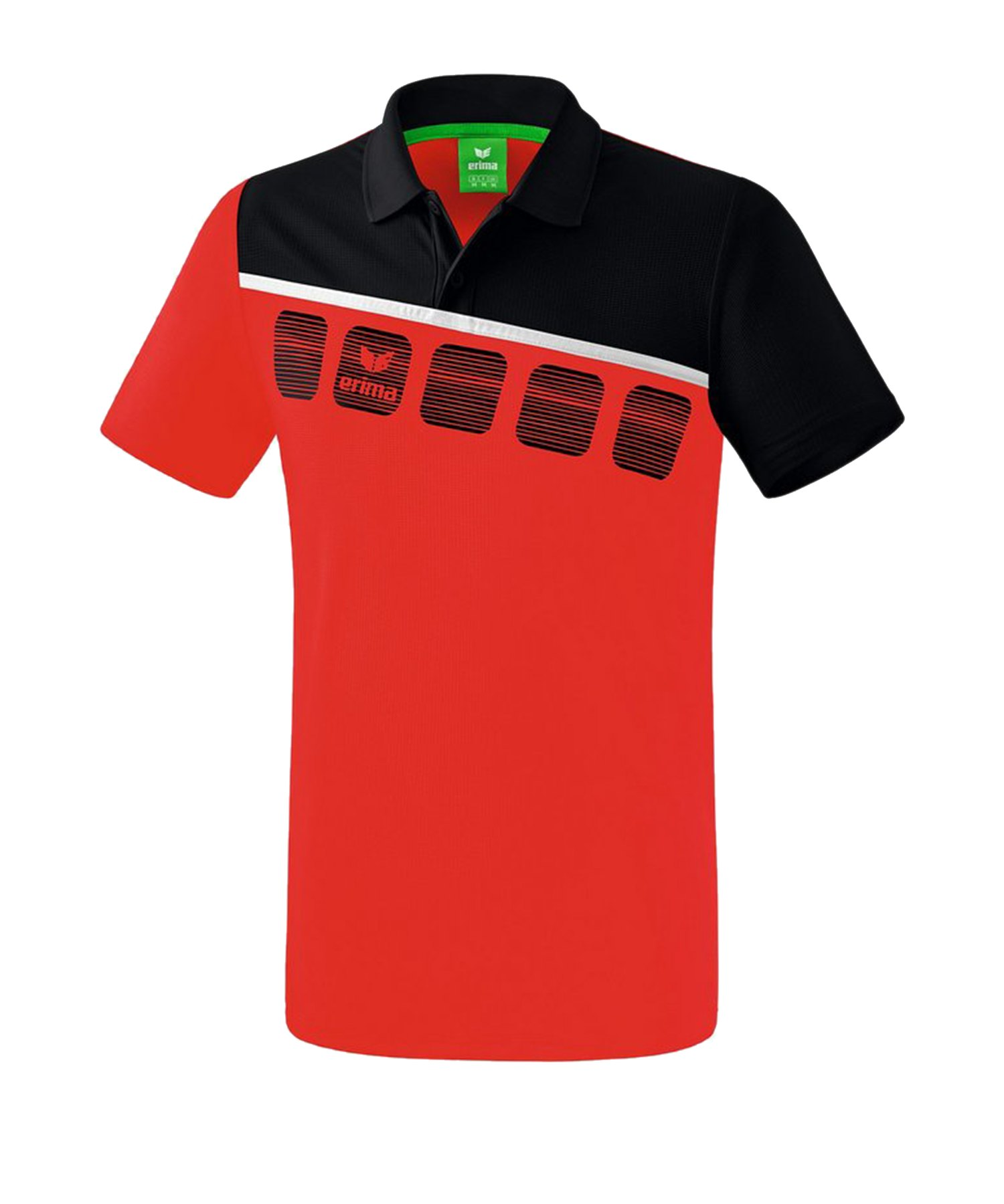 Erima 5-C Poloshirt Rot Schwarz - Rot