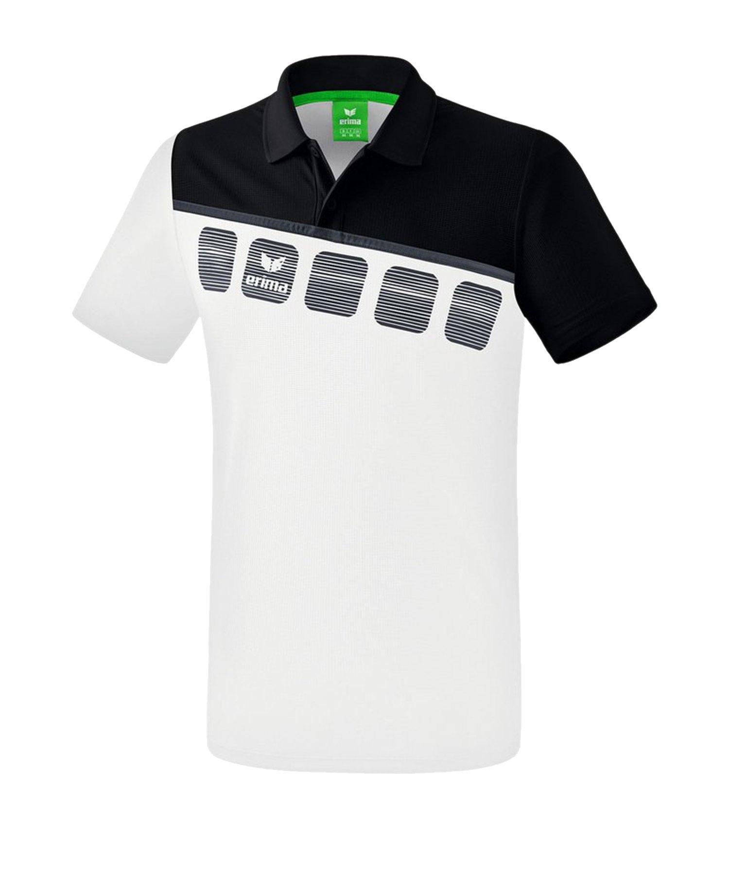 Erima 5-C Poloshirt Weiss Schwarz - Weiss
