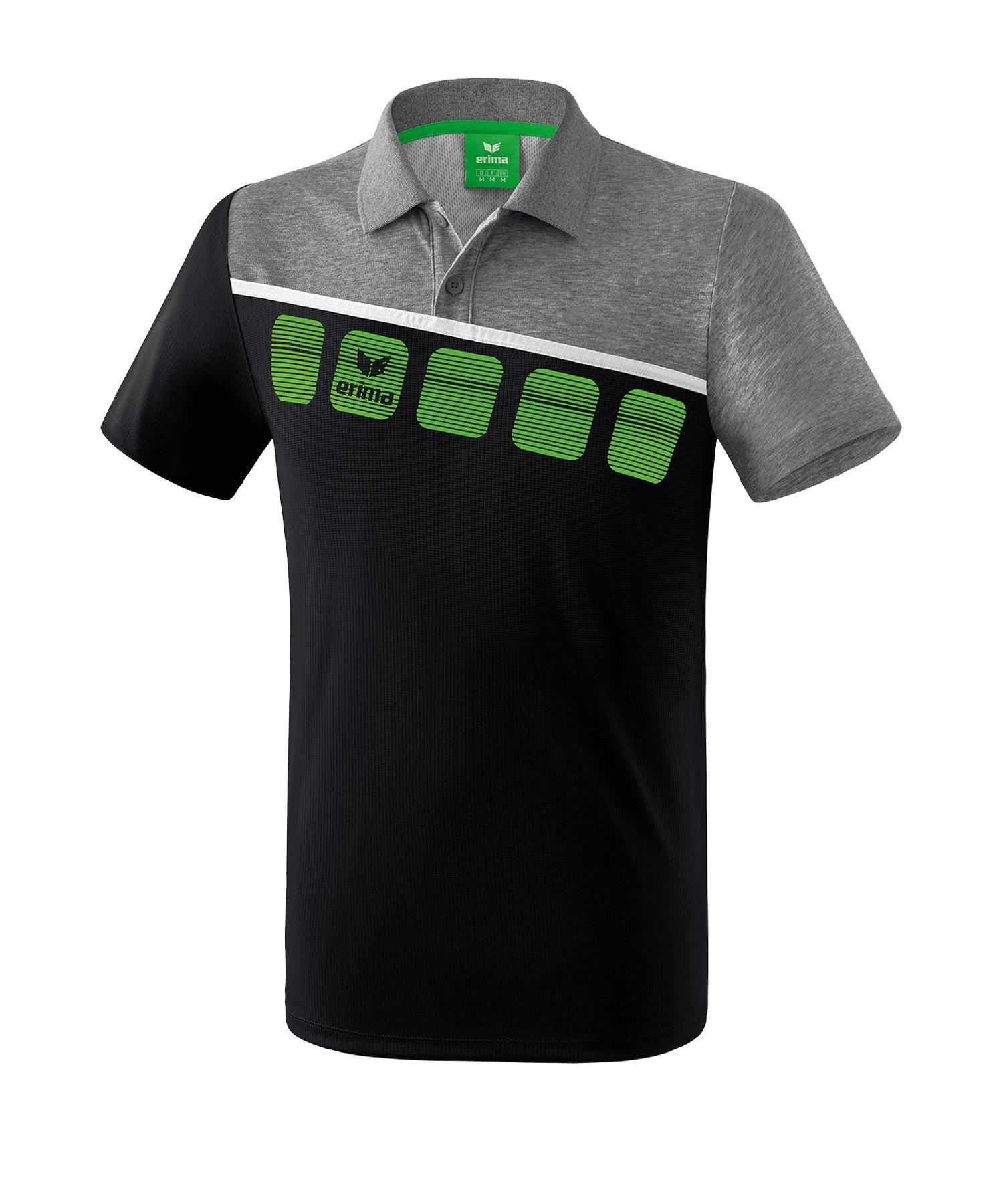 Erima 5-C Poloshirt Kids Schwarz Grau - Schwarz