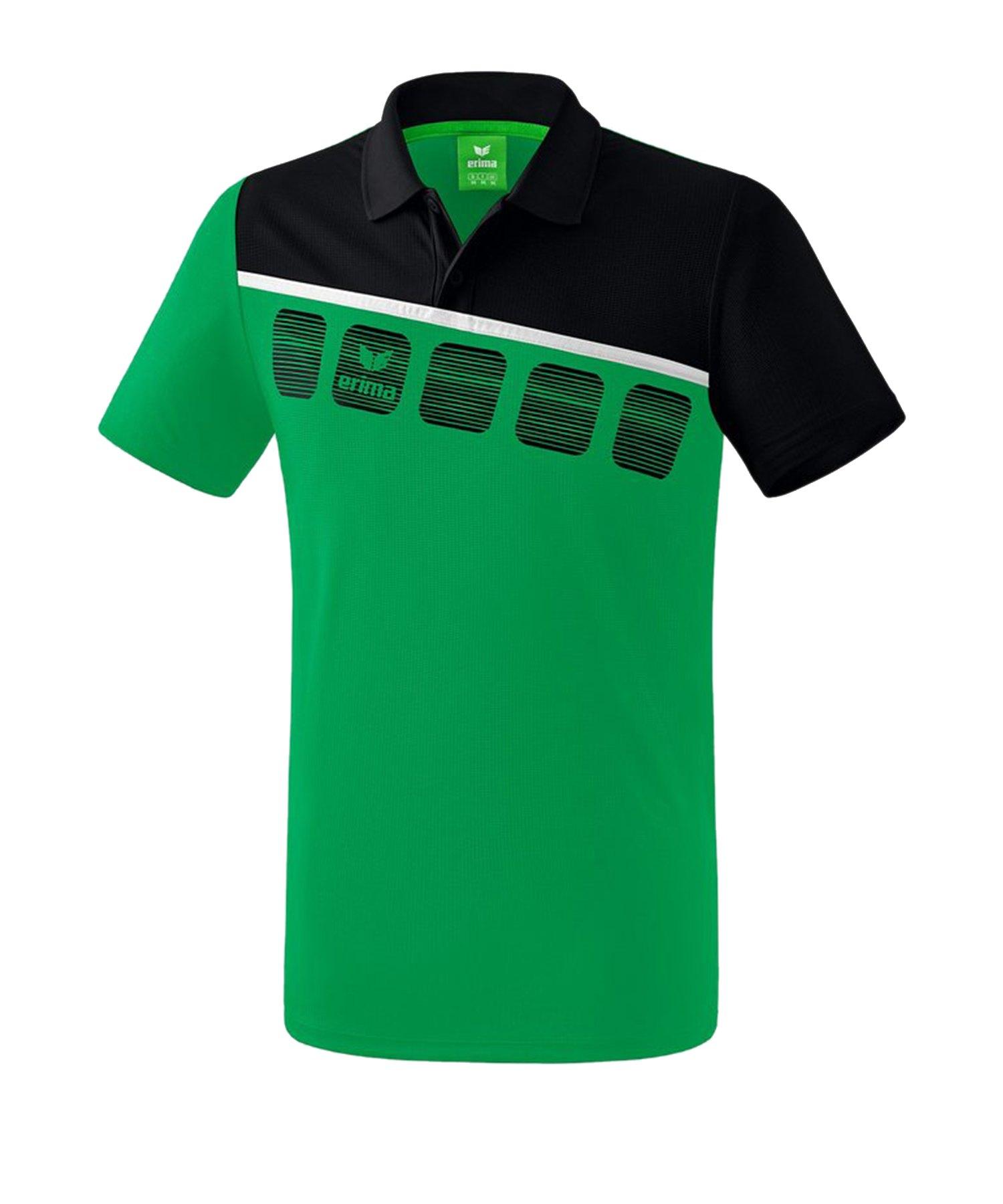 Erima 5-C Poloshirt Kids Grün Schwarz - Gruen