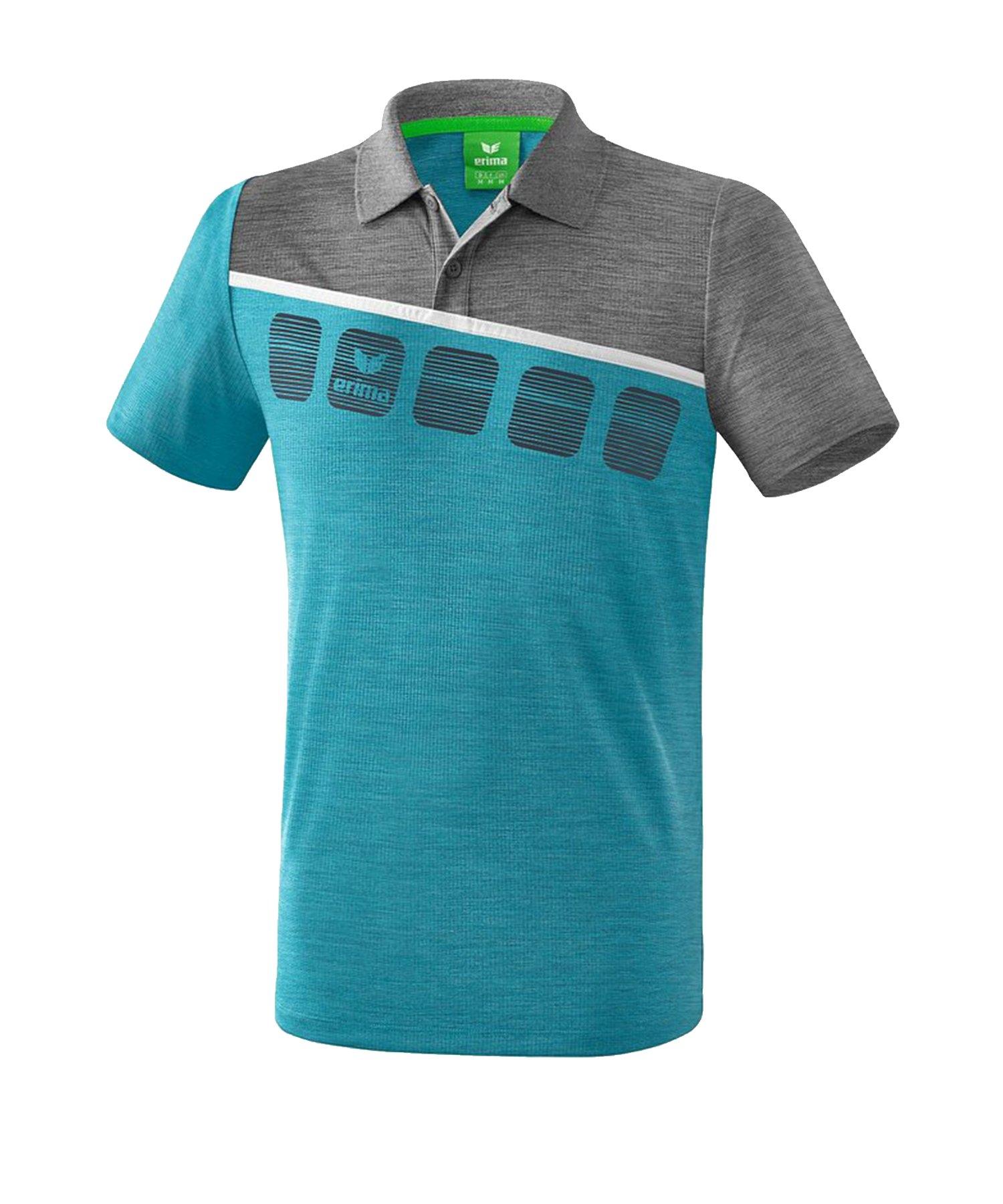 Erima 5-C Poloshirt Kids Blau Grau - Blau